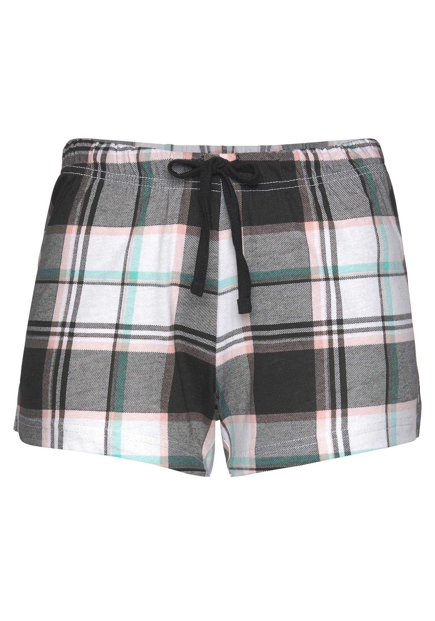 VIVANCE Pyžamové nohavice 'Dreams'  čierna / biela / svetloružová / nefritová