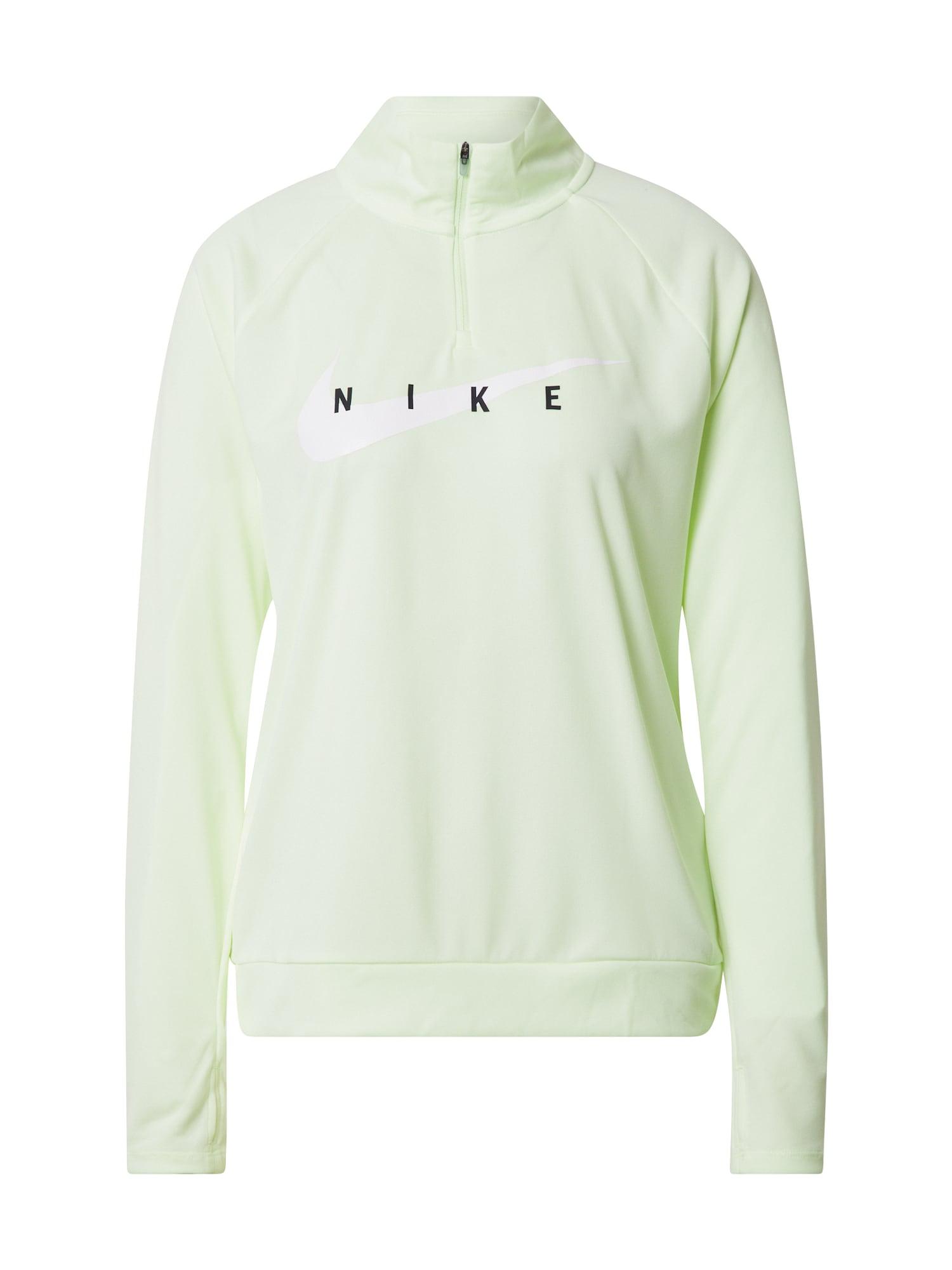 NIKE Sportinio tipo megztinis 'Swoosh Run' šviesiai žalia / juoda / balta