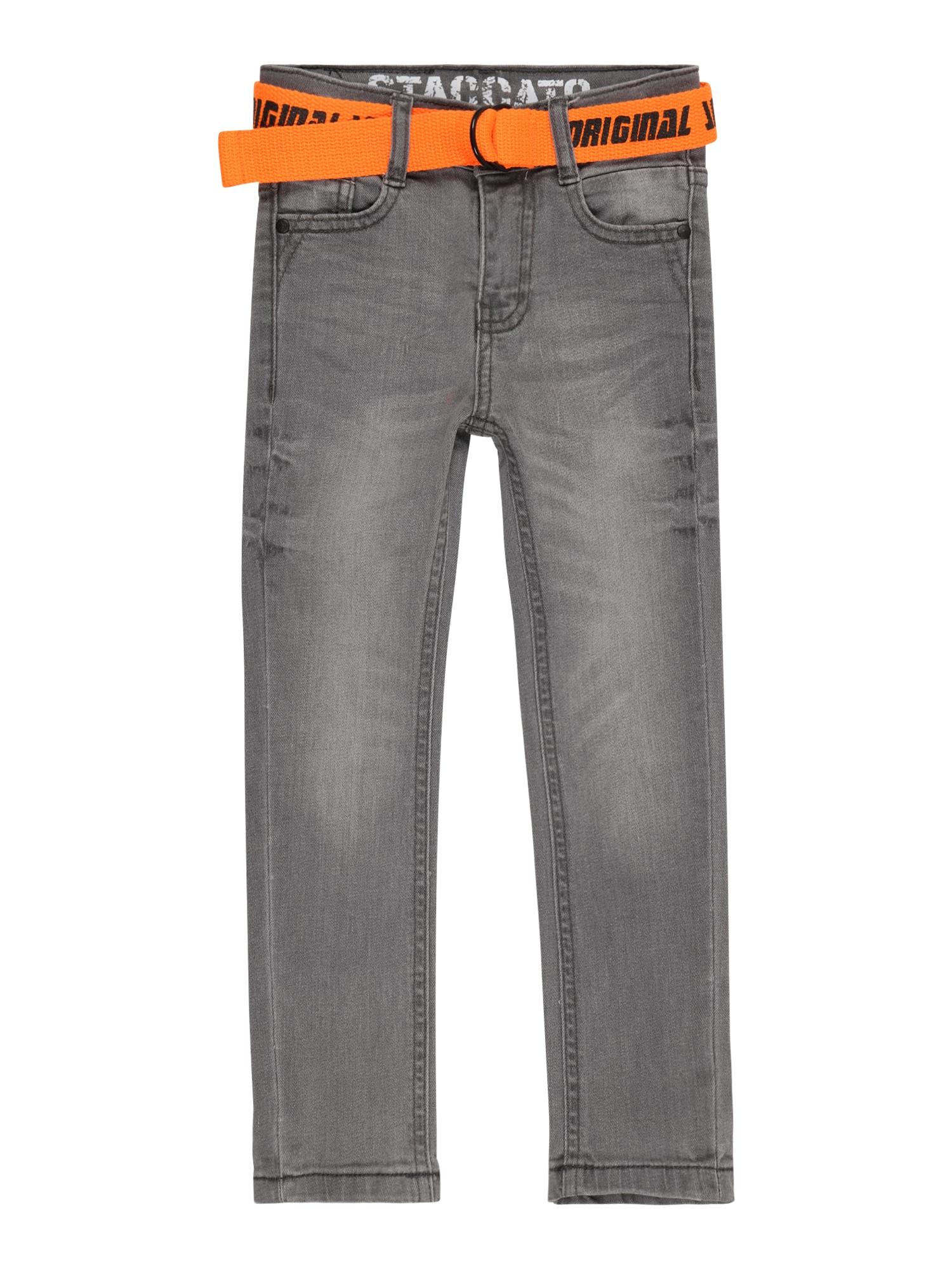 STACCATO Džinsai pilko džinso / šviesiai oranžinė / juoda