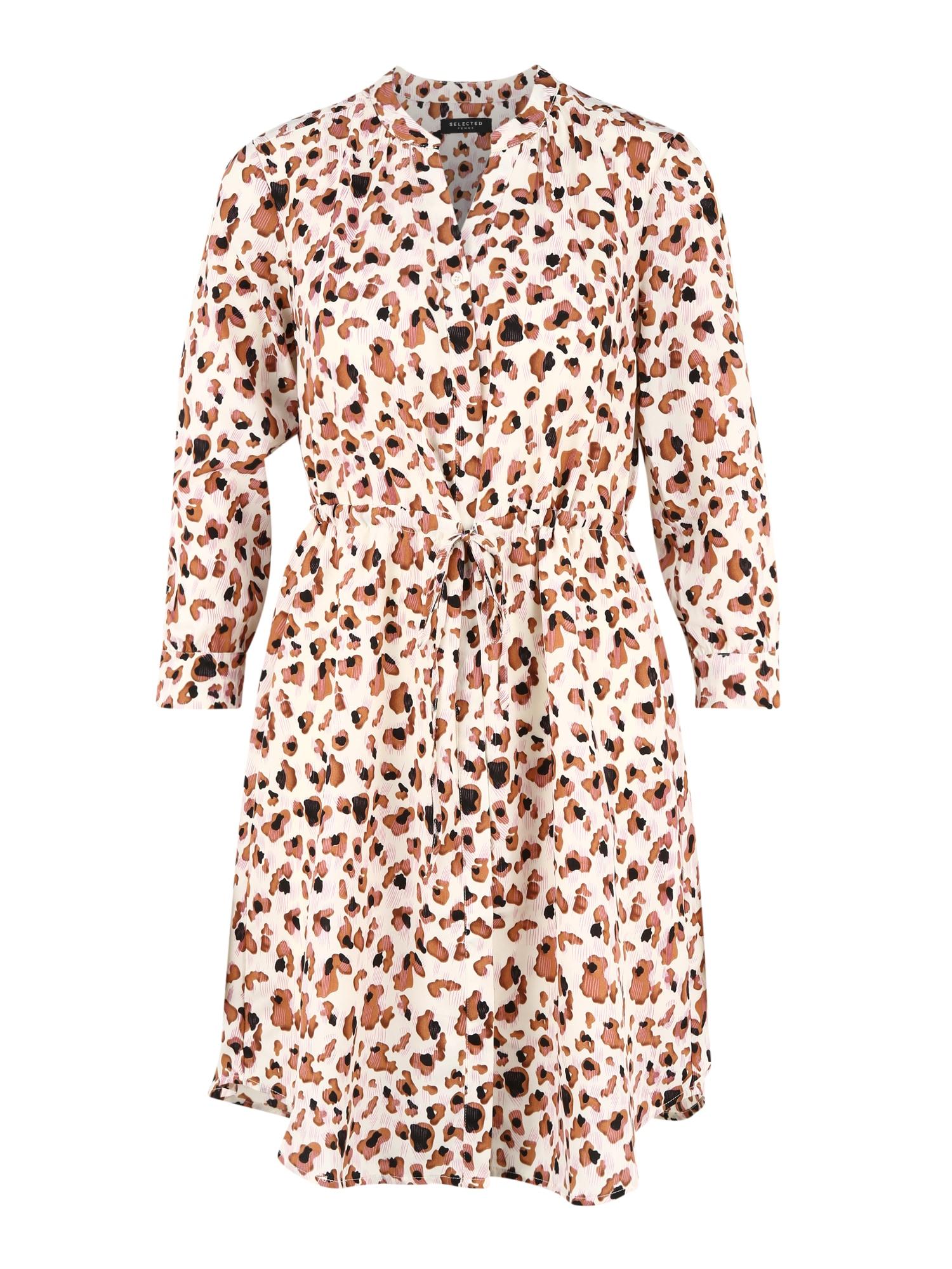 SELECTED FEMME Košilové šaty  hnědá / bílá / černá / růžová
