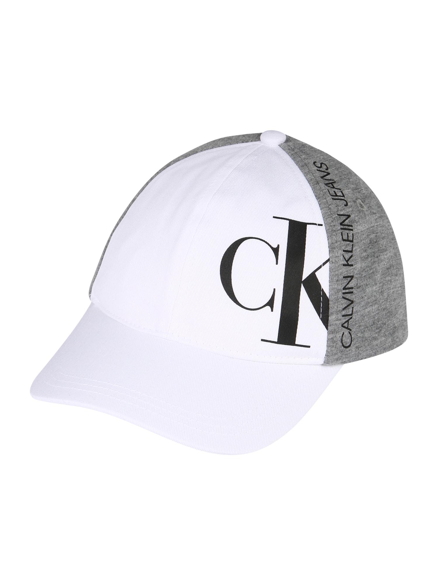 Calvin Klein Jeans Megzta kepurė balta / margai pilka / juoda