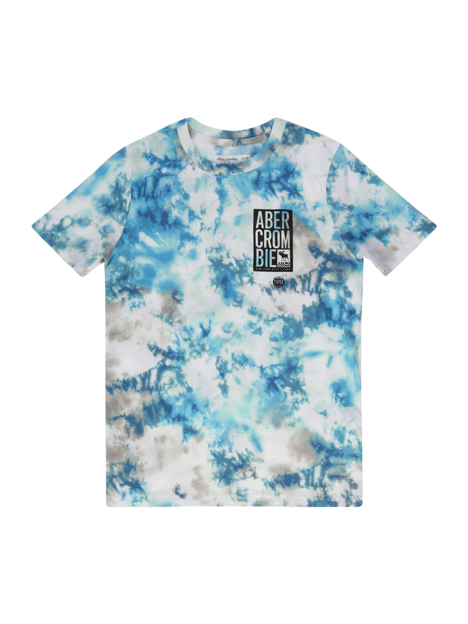 Abercrombie & Fitch Marškinėliai mėlyna / balta / juoda / dangaus žydra