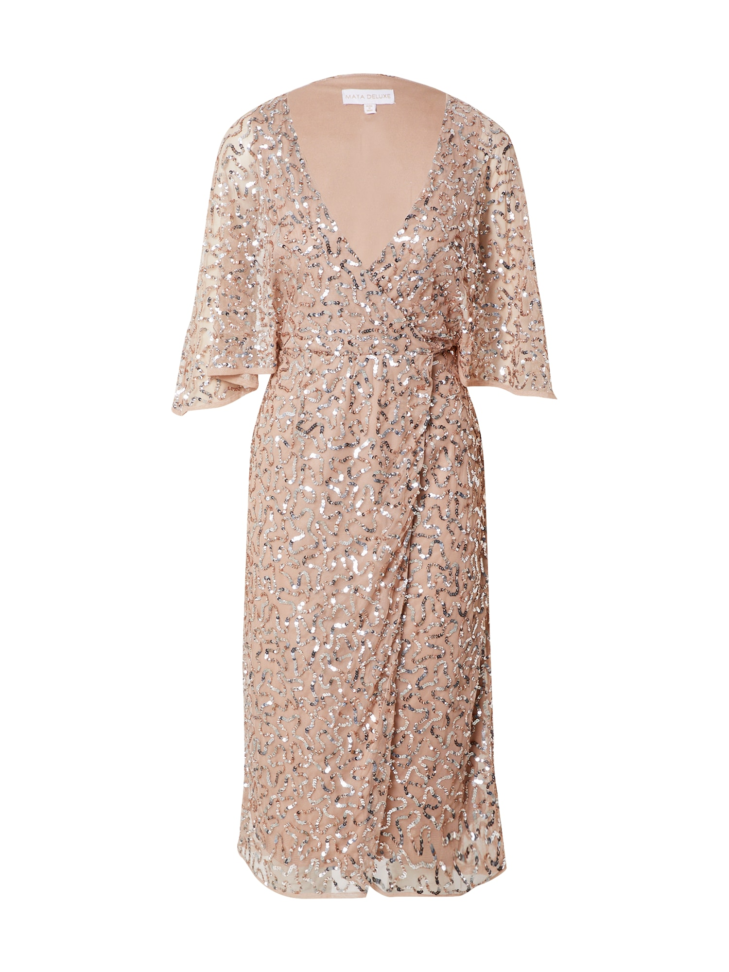Maya Deluxe Vakarinė suknelė kūno spalva / sidabrinė