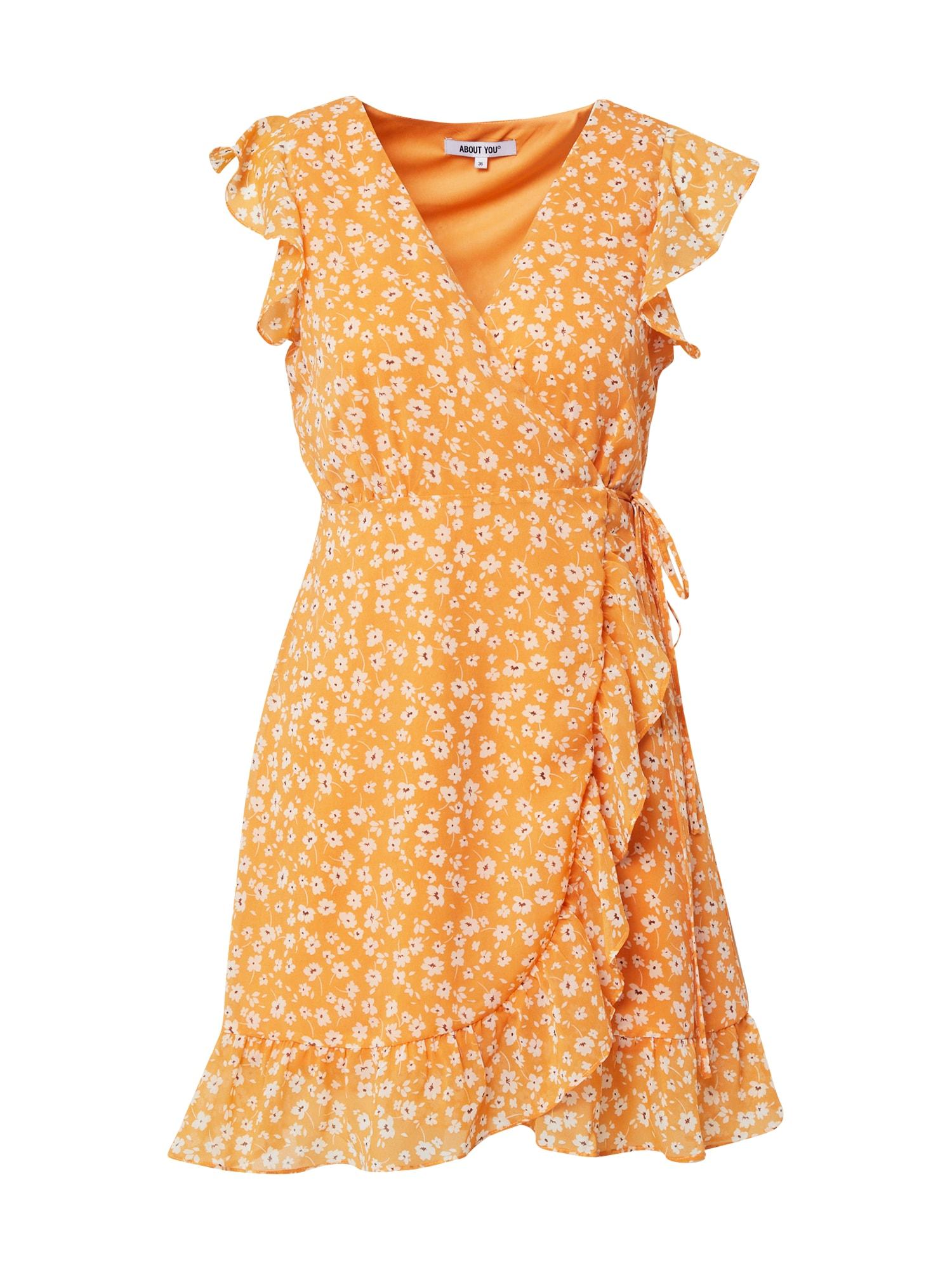 ABOUT YOU Šaty 'Masha'  oranžová / biela