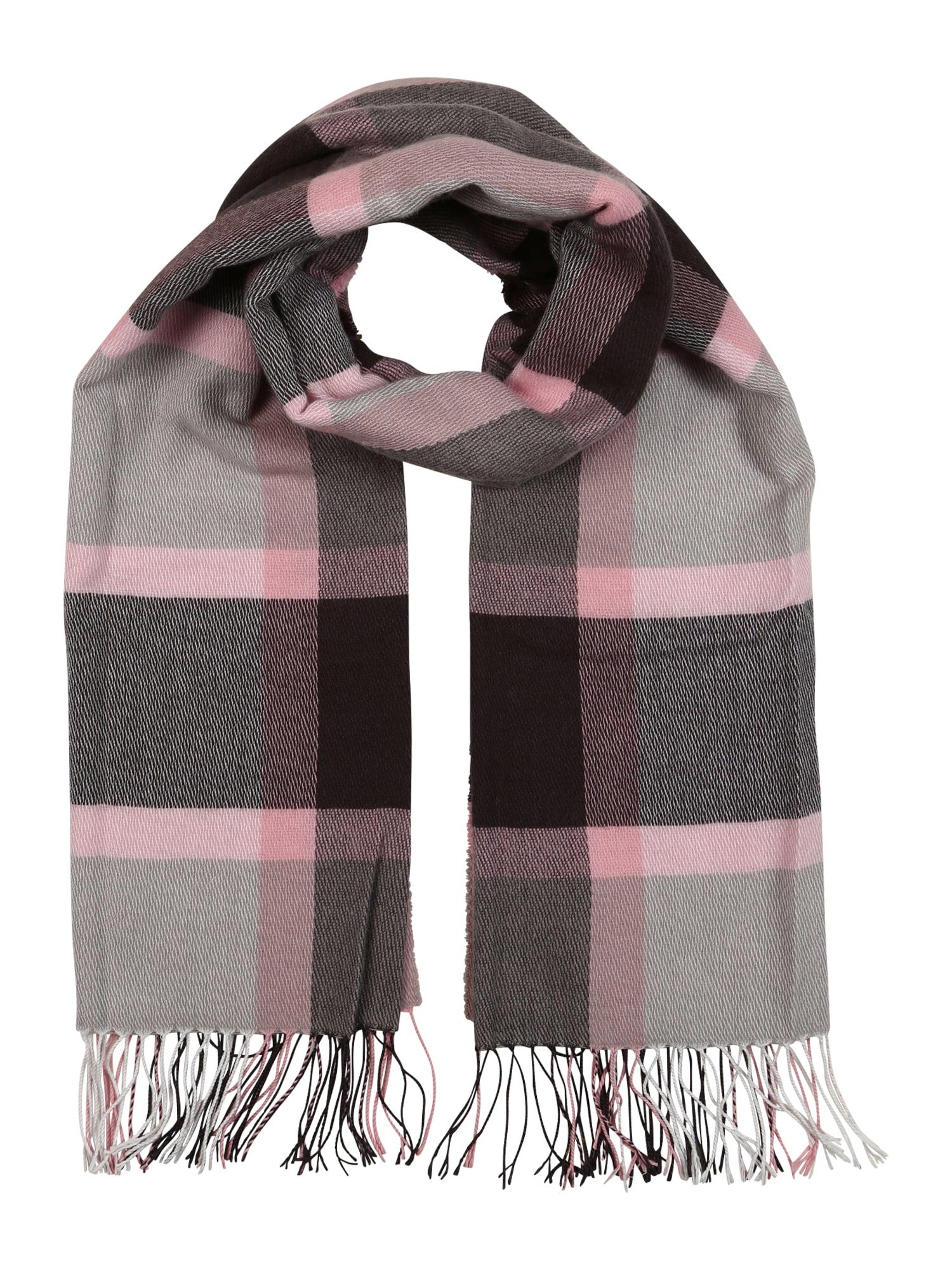 ESPRIT Šalikas juoda / tamsiai ruda / šviesiai rožinė / šviesiai pilka