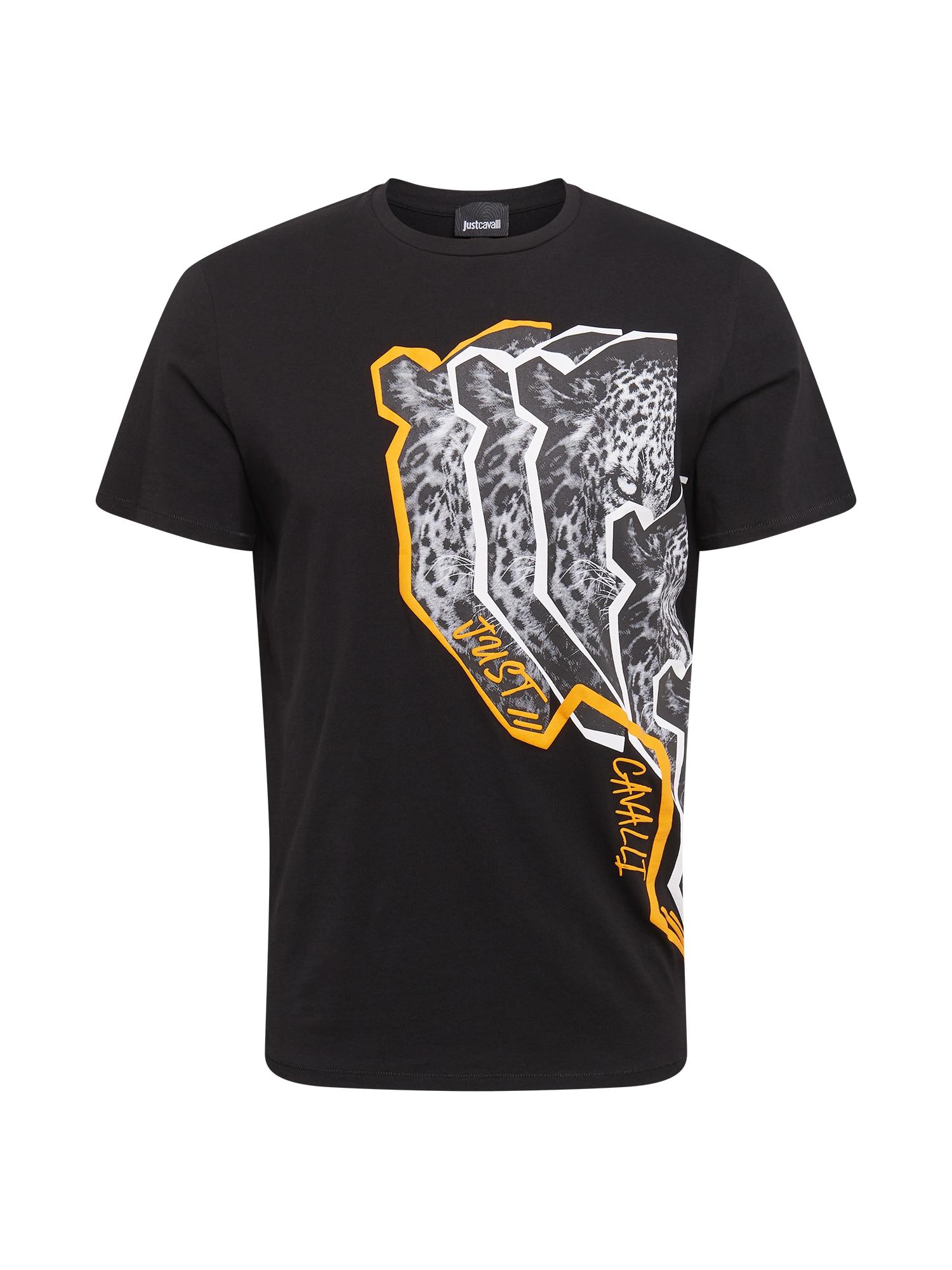 Just Cavalli Marškinėliai juoda / balta / geltona
