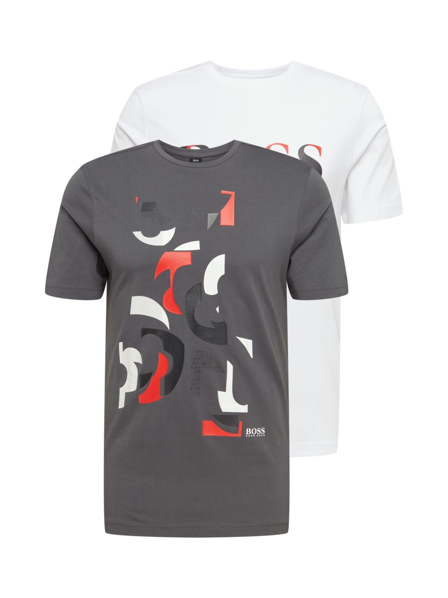 BOSS ATHLEISURE Marškinėliai balta / akmens / tamsiai pilka / šviesiai raudona