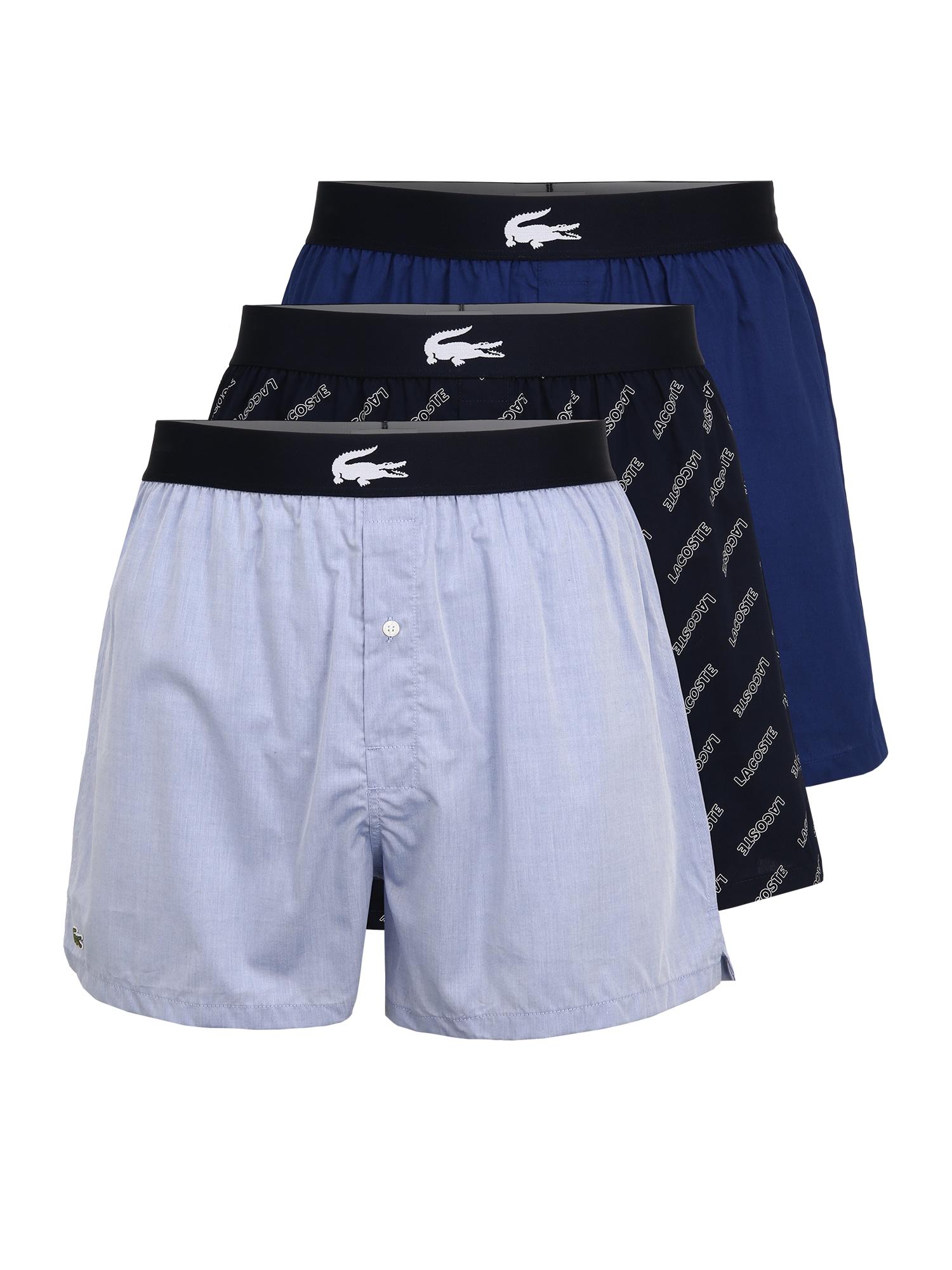 LACOSTE Boxer trumpikės tamsiai mėlyna / mėlyna / azuro / balta