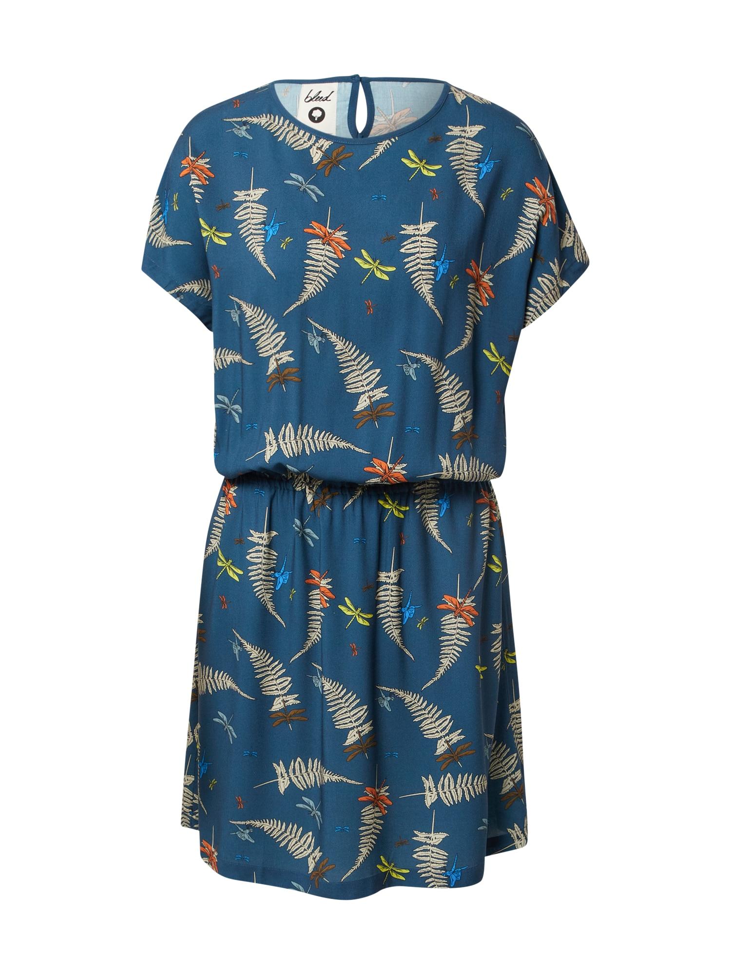 bleed clothing Suknelė tamsiai mėlyna / tamsiai oranžinė / mėlyna / smėlio spalva / žaliosios citrinos spalva