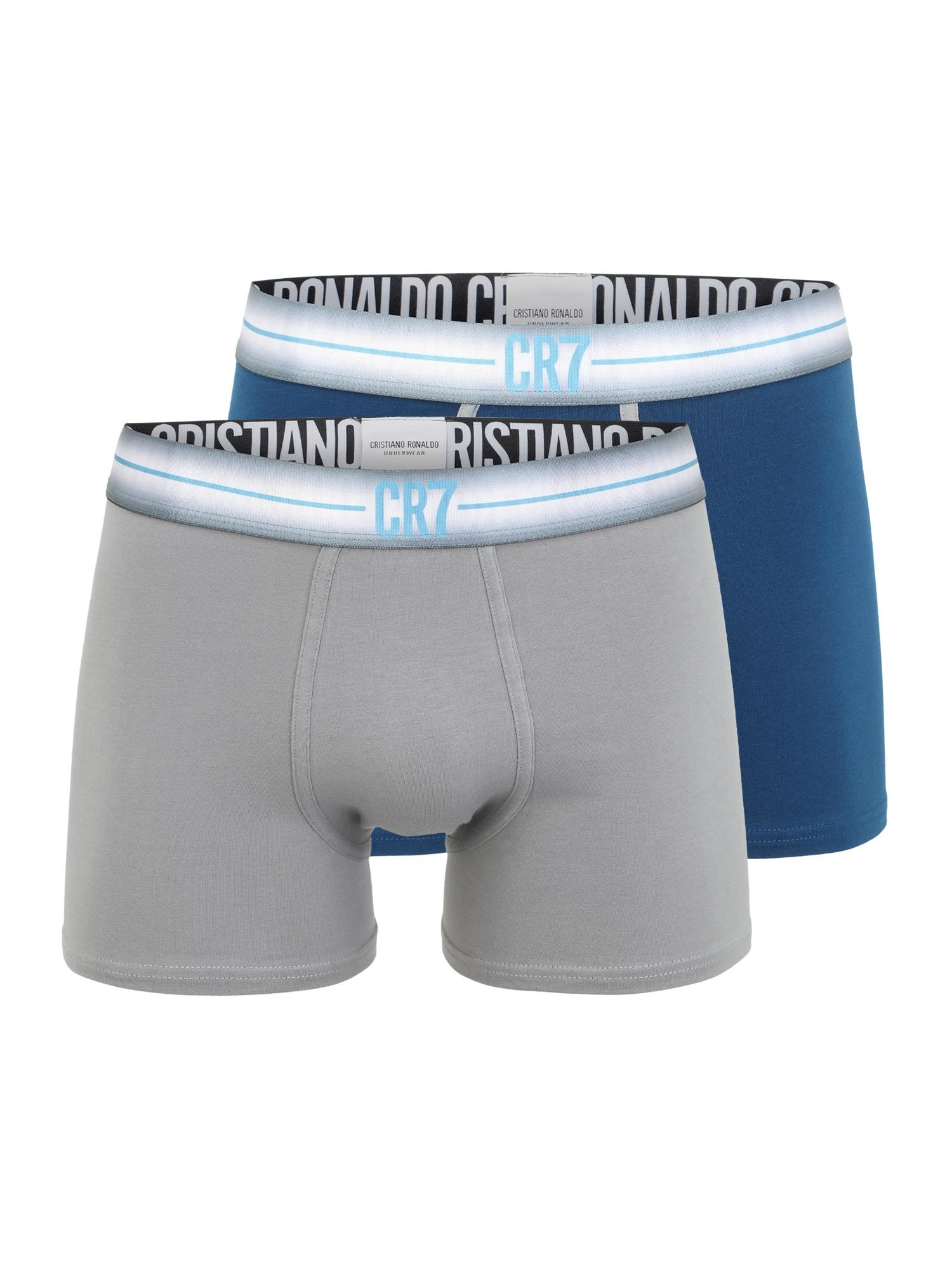 CR7 - Cristiano Ronaldo Boxer trumpikės pilka / pastelinė mėlyna / balta / šviesiai mėlyna