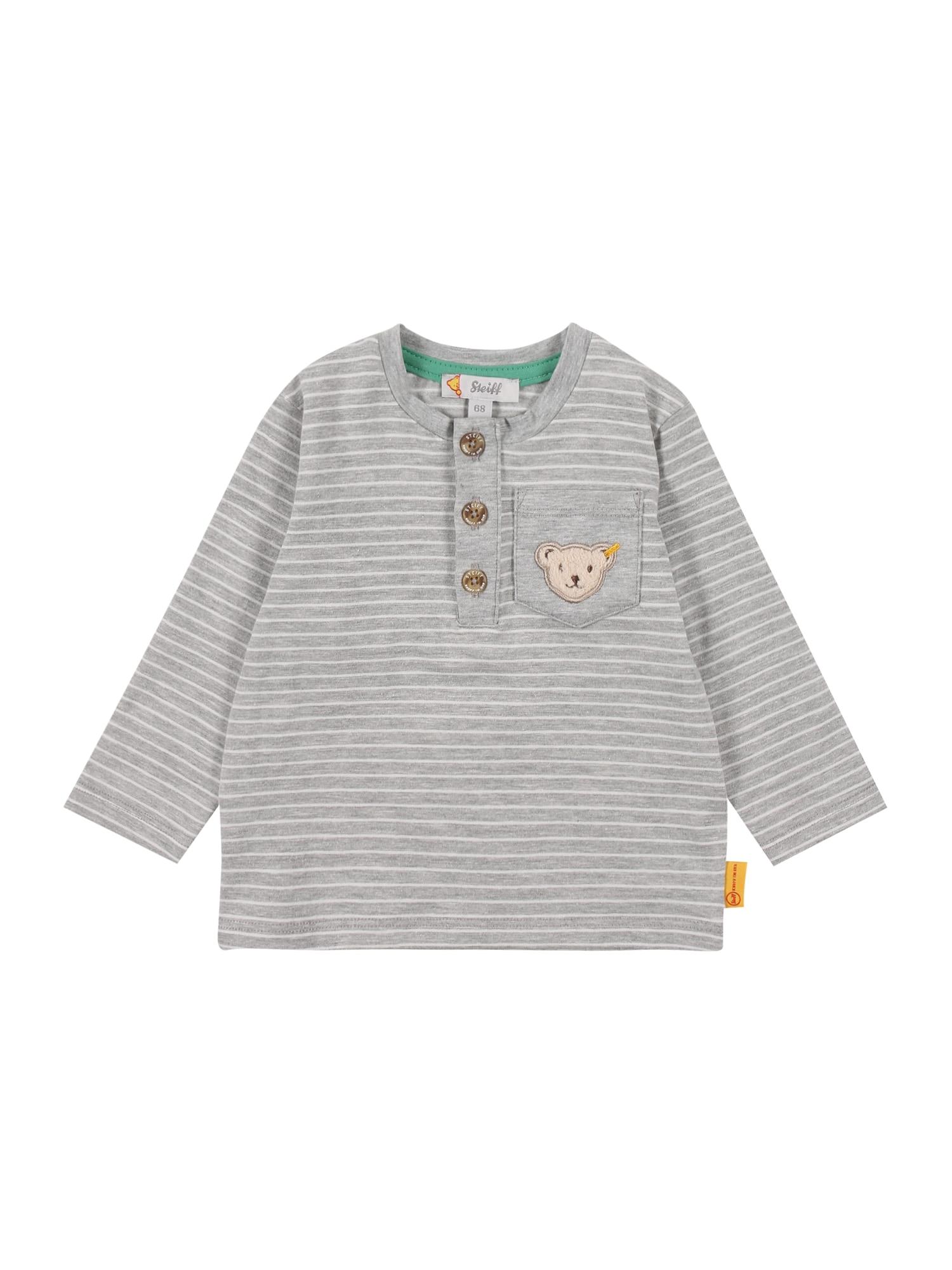 Steiff Collection Marškinėliai šviesiai pilka / balta / šviesiai ruda