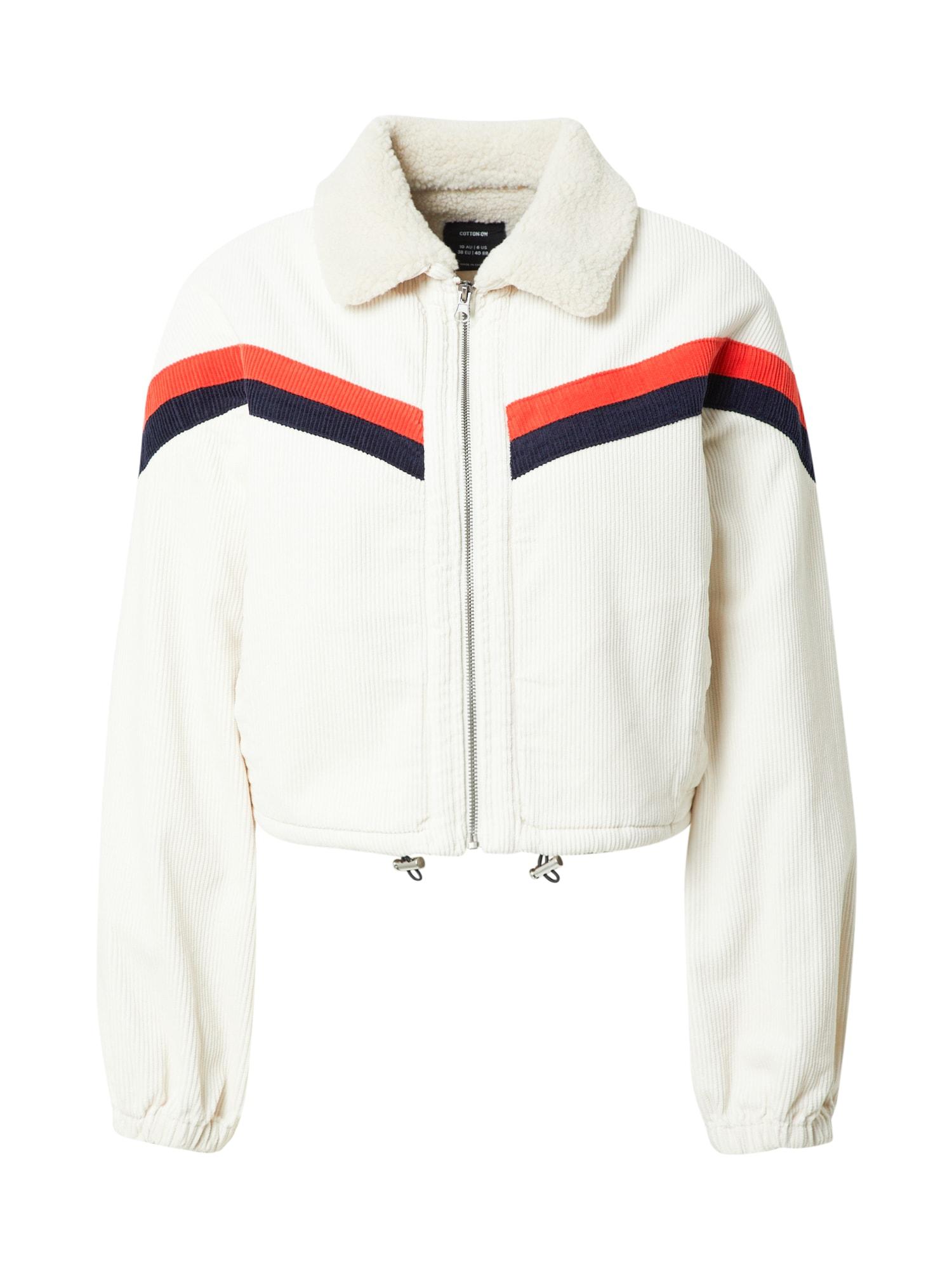 Cotton On Demisezoninė striukė balta / tamsiai mėlyna / raudona