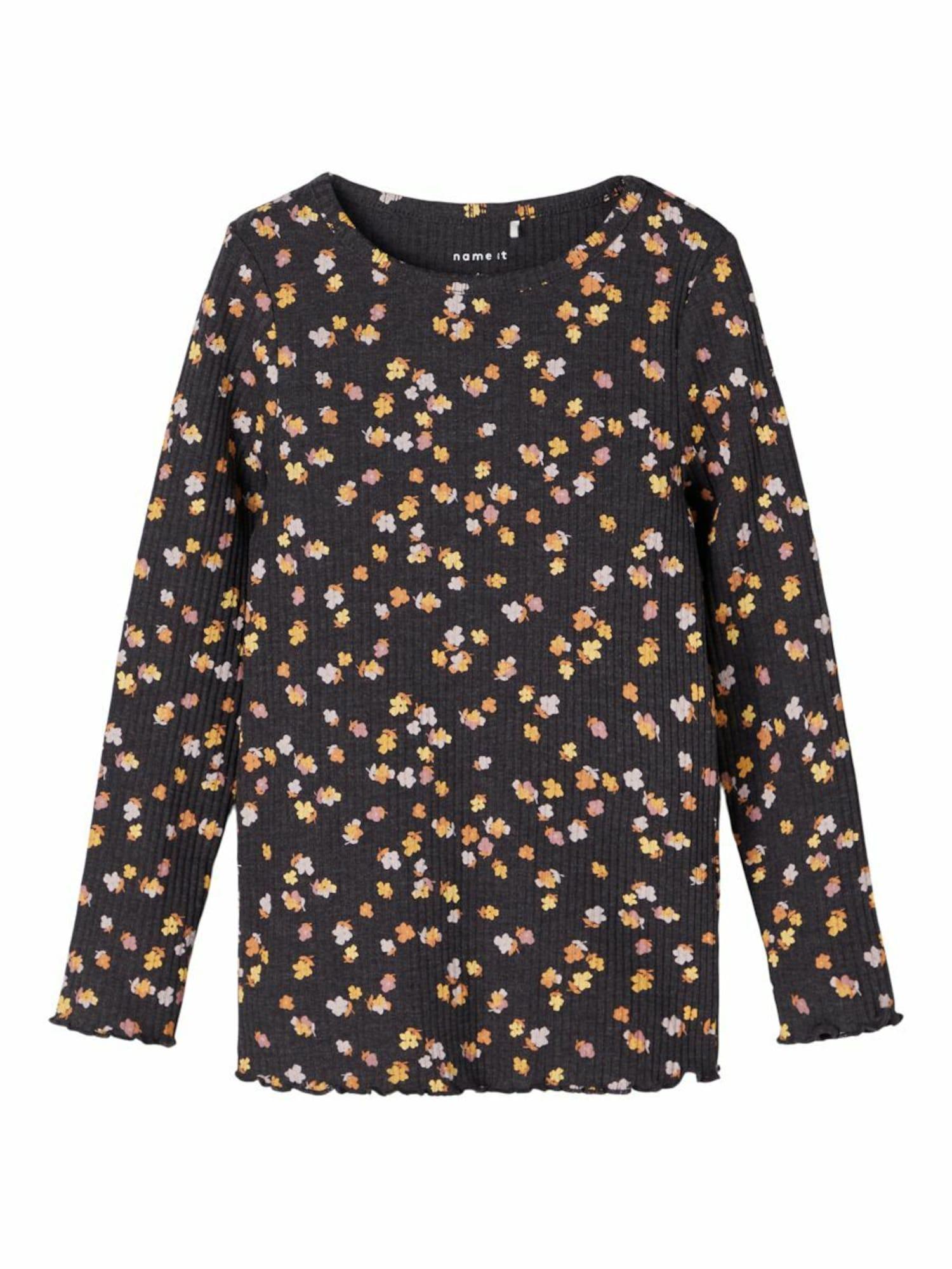 NAME IT Marškinėliai juoda / geltona / oranžinė