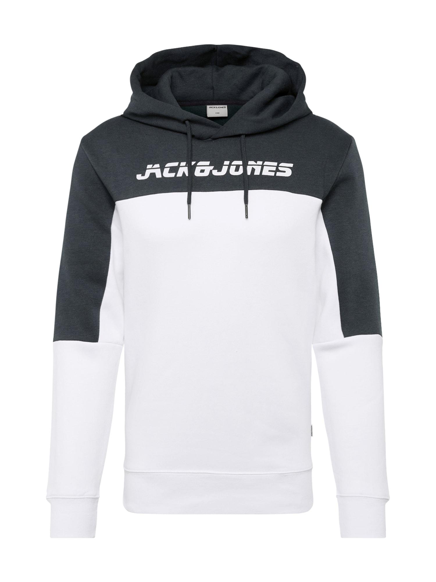 JACK & JONES Mikina 'ASHER'  tmavě zelená / bílá