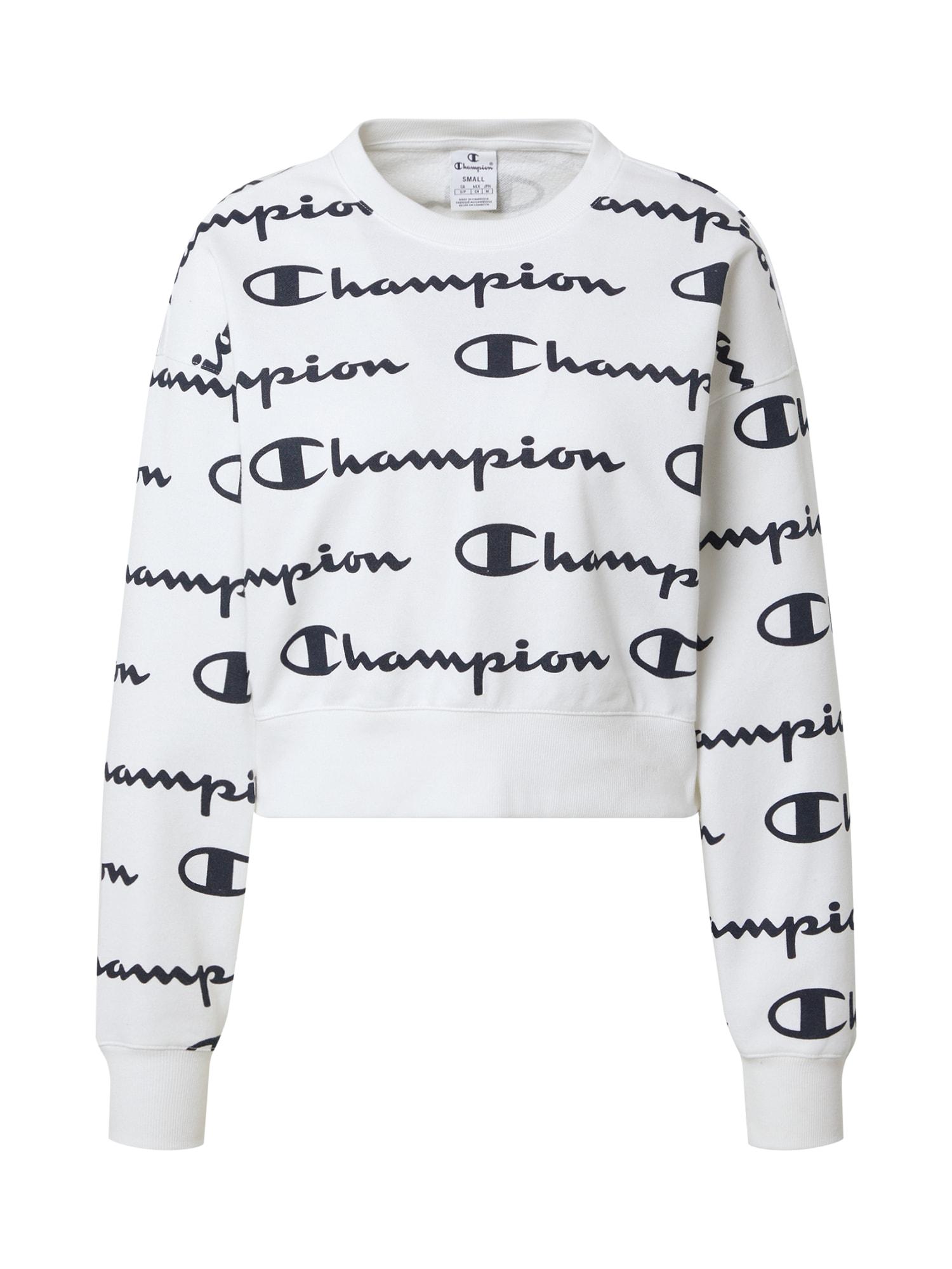 Champion Authentic Athletic Apparel Megztinis be užsegimo balta / tamsiai mėlyna jūros spalva