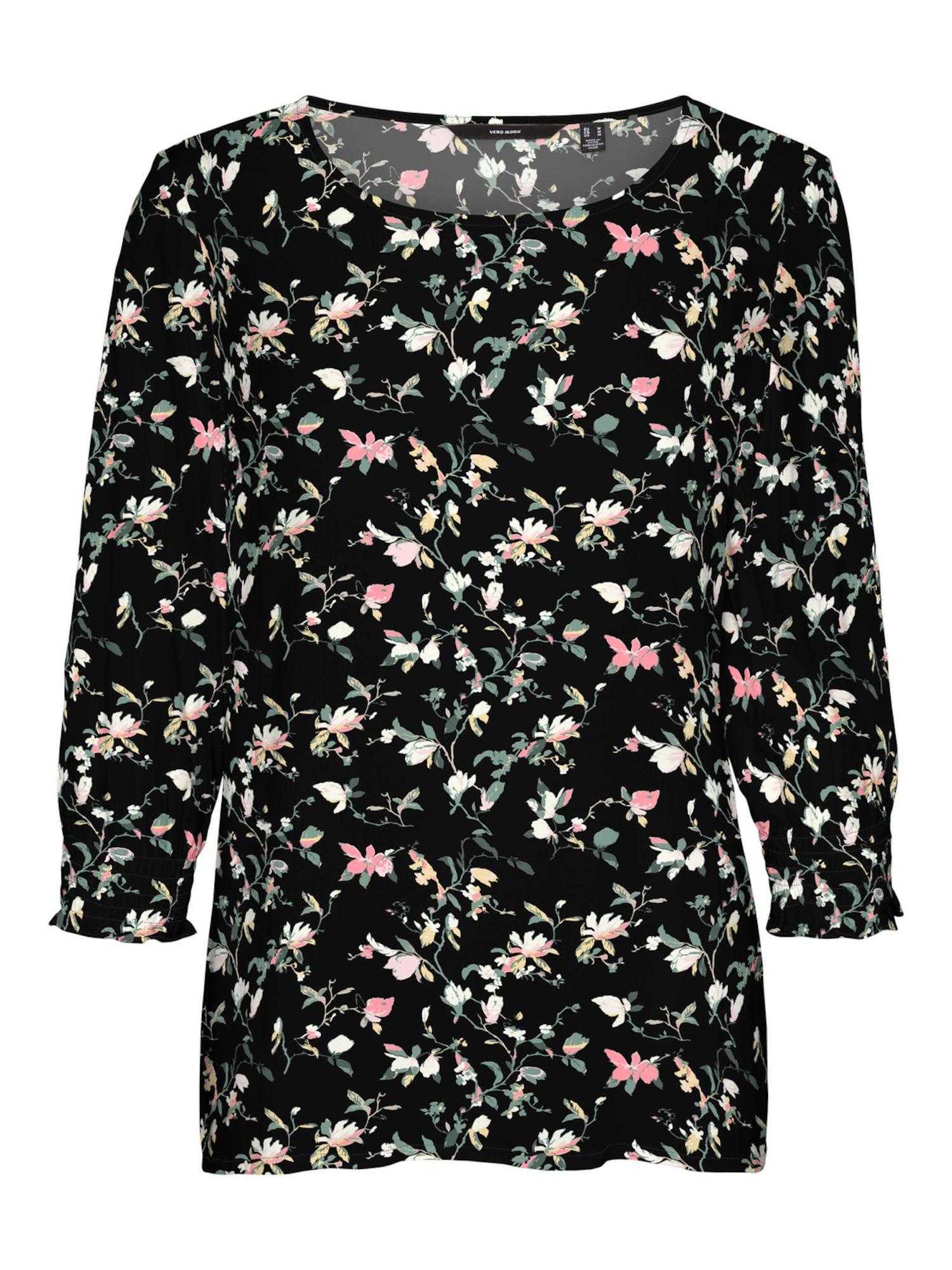 Vero Moda Petite Tričko 'Simply Easy'  černá / růžová / světle zelená / světle žlutá / béžová