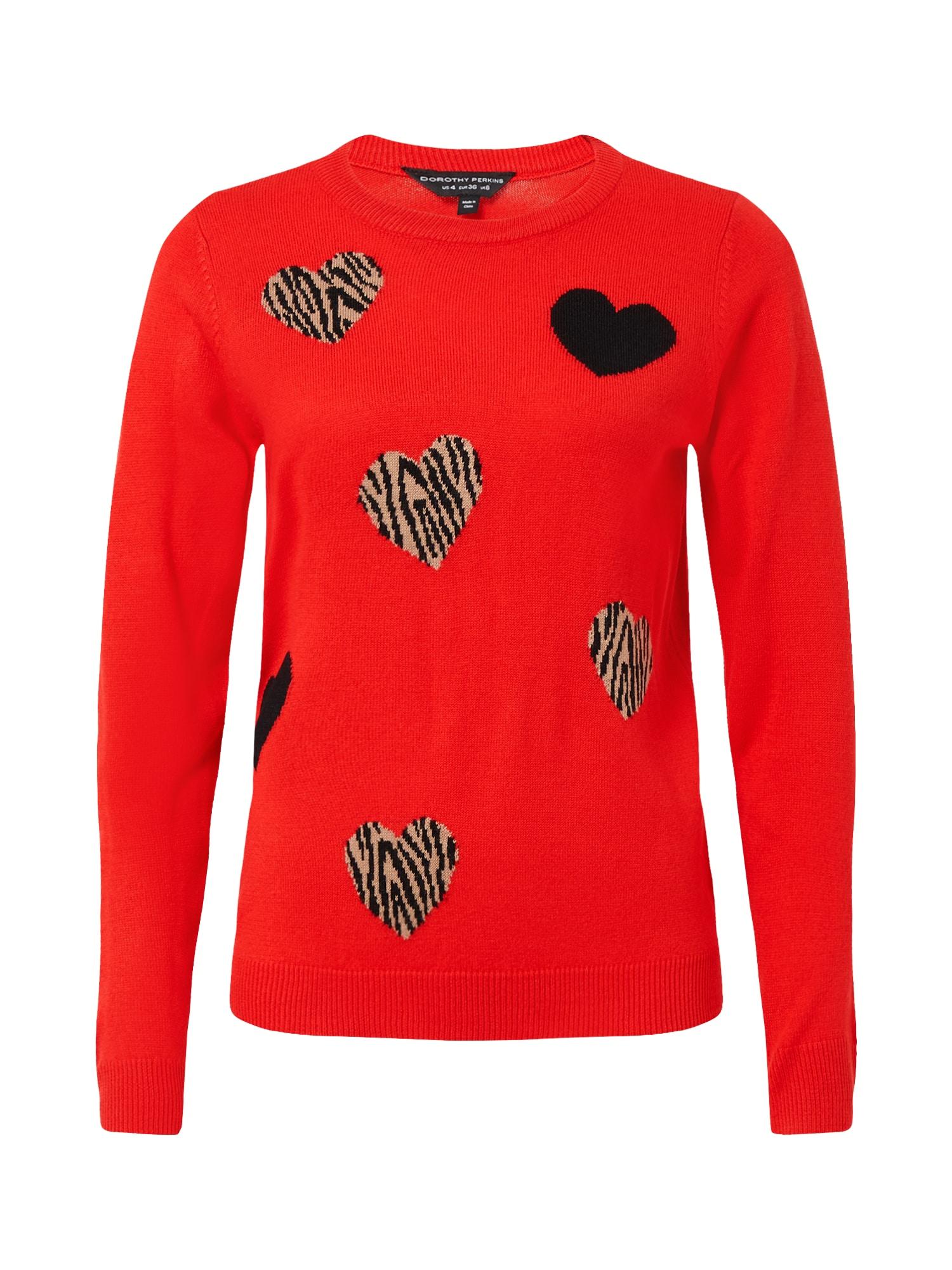 Dorothy Perkins Megztinis raudona / juoda / smėlio