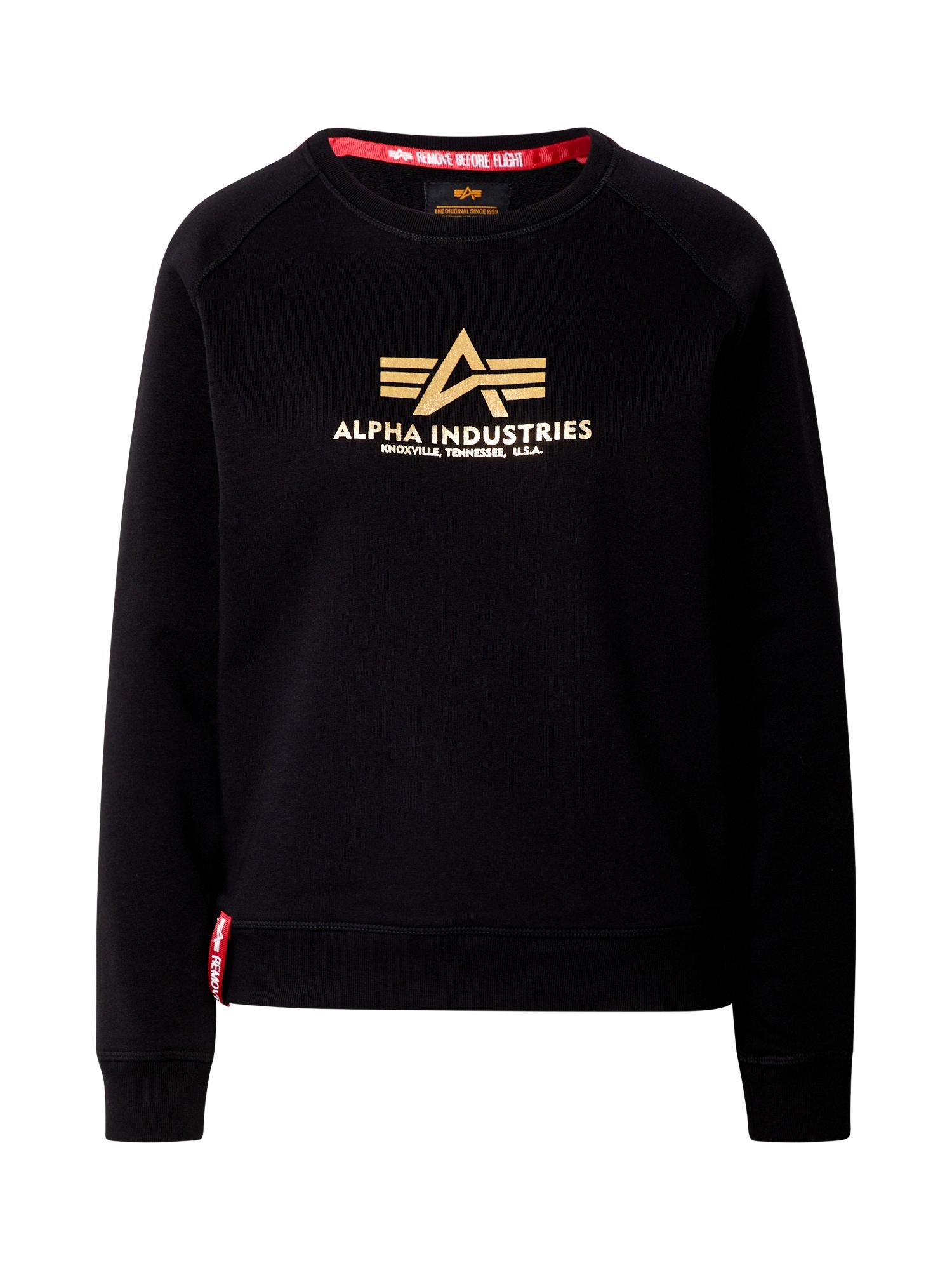 ALPHA INDUSTRIES Megztinis be užsegimo juoda / auksas / raudona