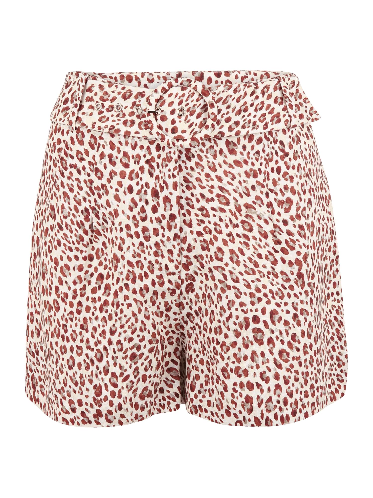 Forever New Petite Klostuotos kelnės pilka / šviesiai raudona / smėlio spalva