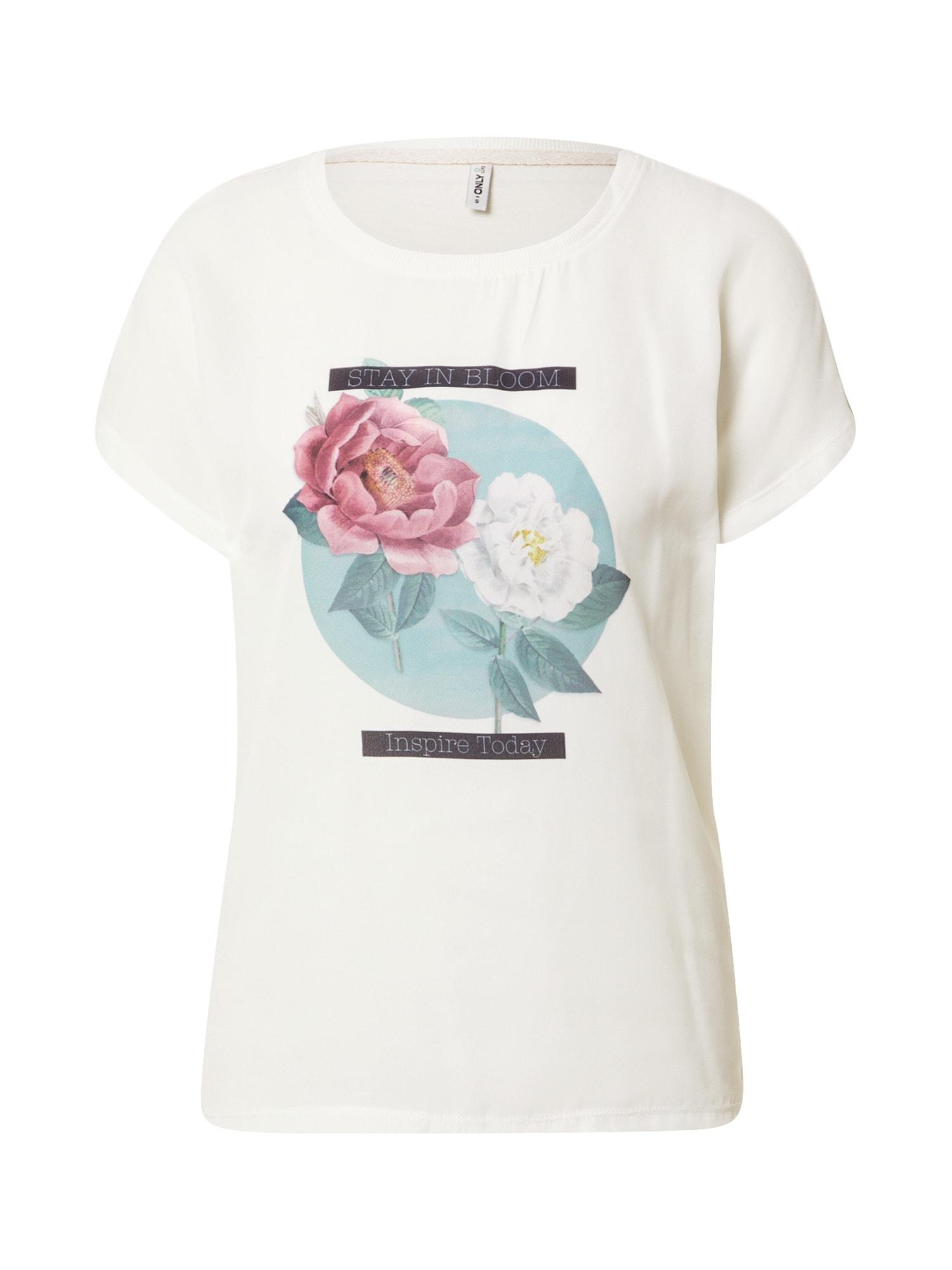 ONLY Tričko  krémová / růže / opálová / bílá