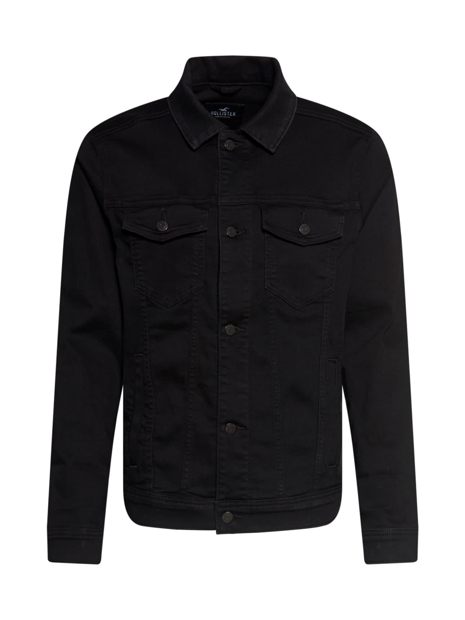 HOLLISTER Demisezoninė striukė juodo džinso spalva