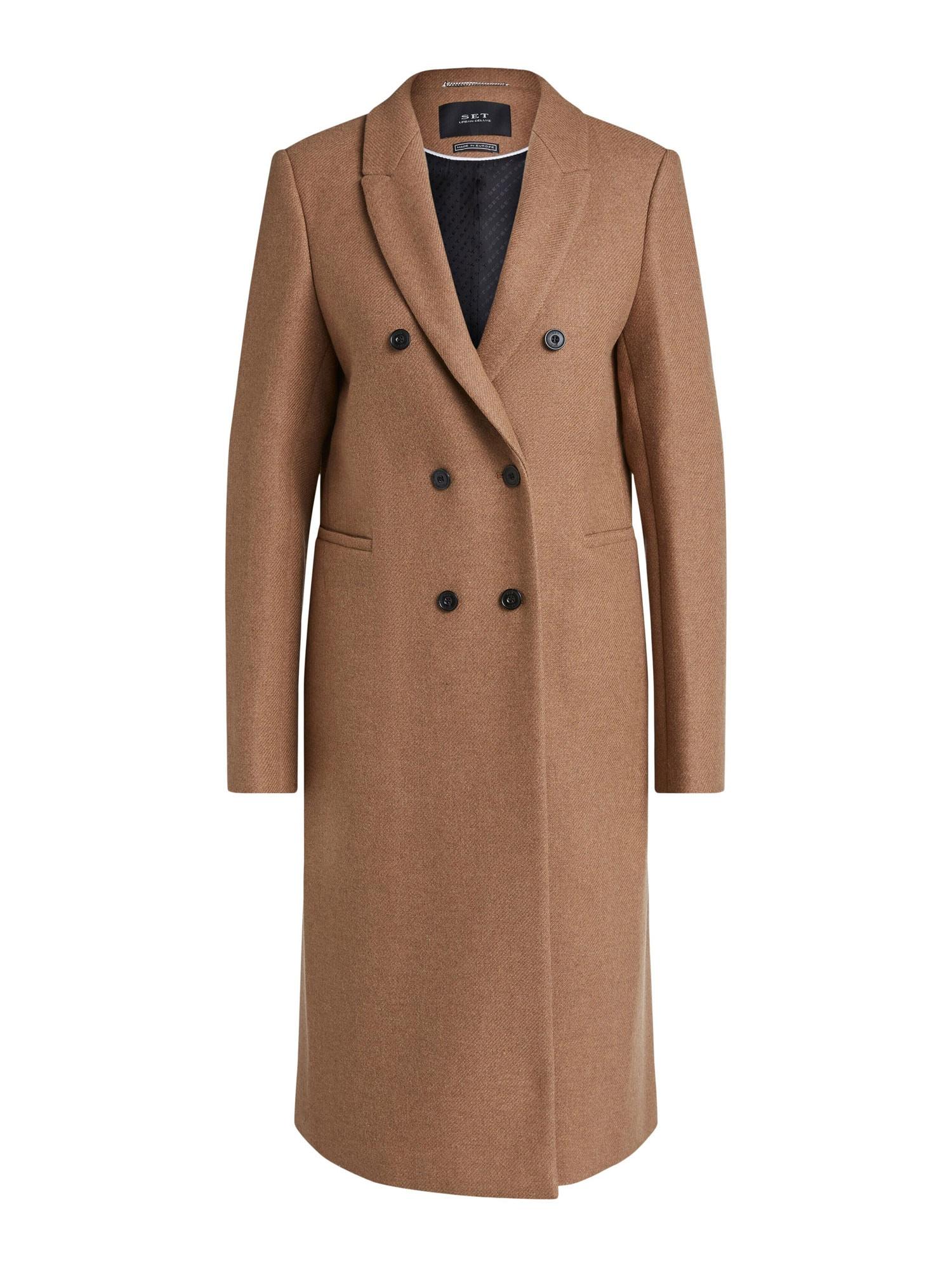 SET Demisezoninis paltas margai ruda