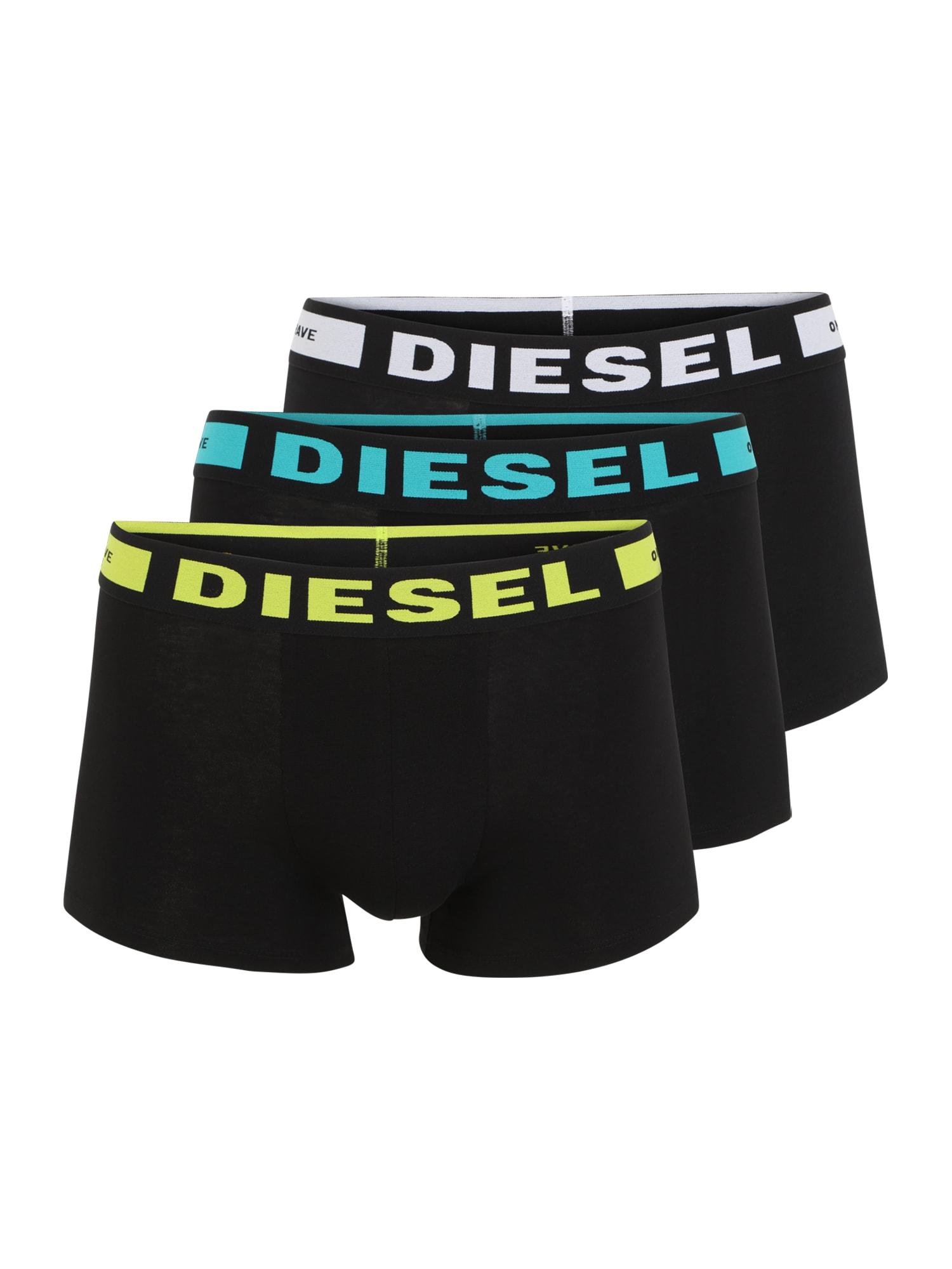 DIESEL Boxer trumpikės juoda / geltona / balta / turkio spalva