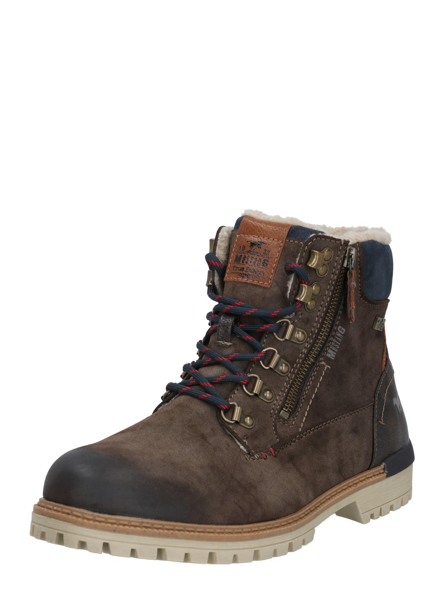 MUSTANG Šněrovací boty  tmavě hnědá / noční modrá