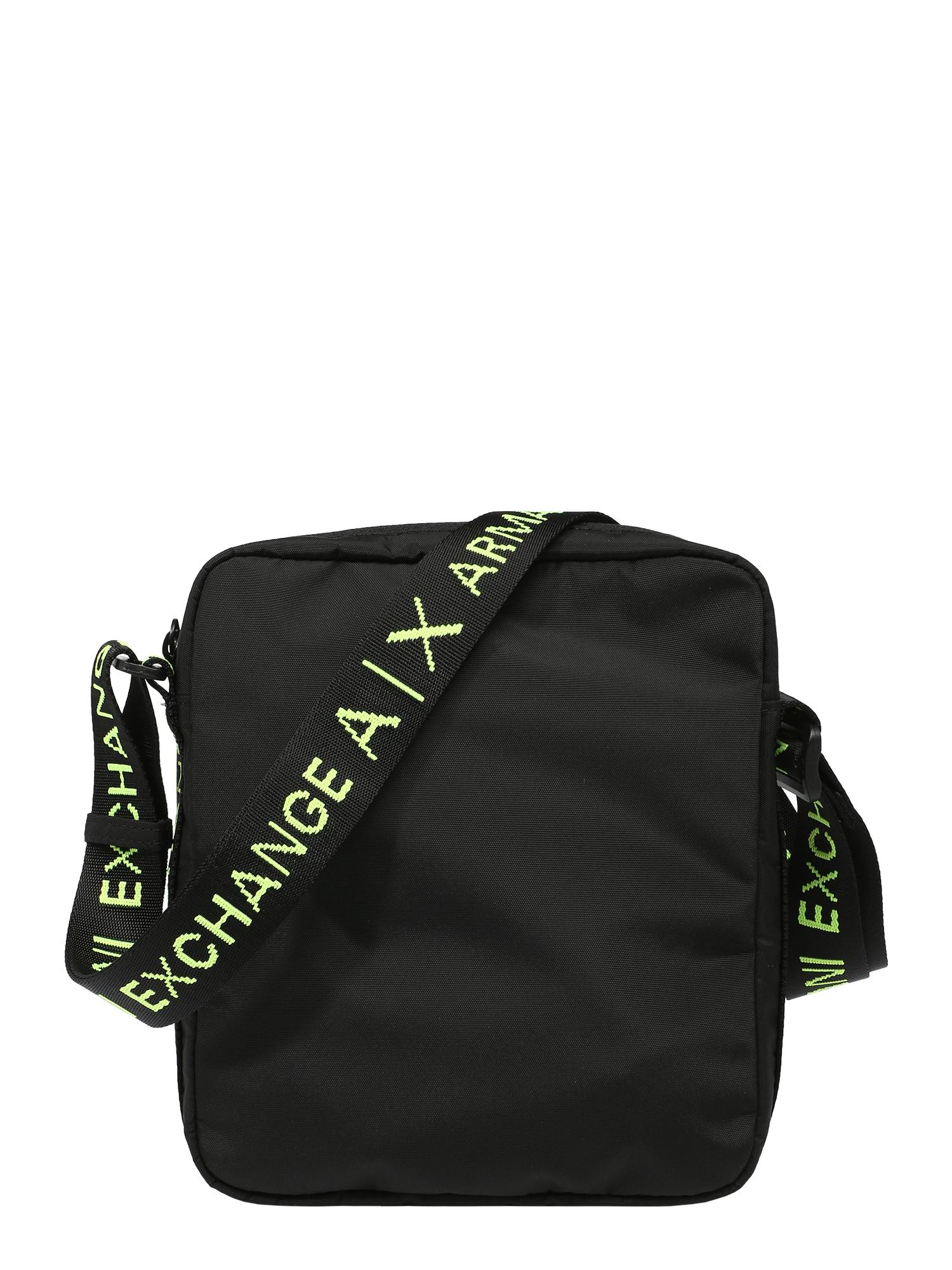 ARMANI EXCHANGE Rankinė su ilgu dirželiu juoda / neoninė žalia