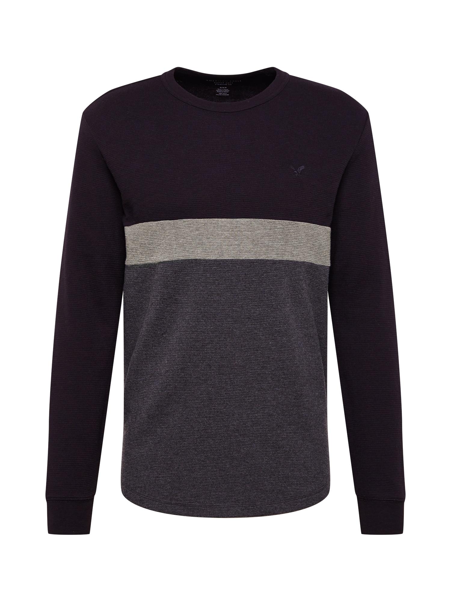 American Eagle Marškinėliai juoda / margai pilka / šviesiai pilka