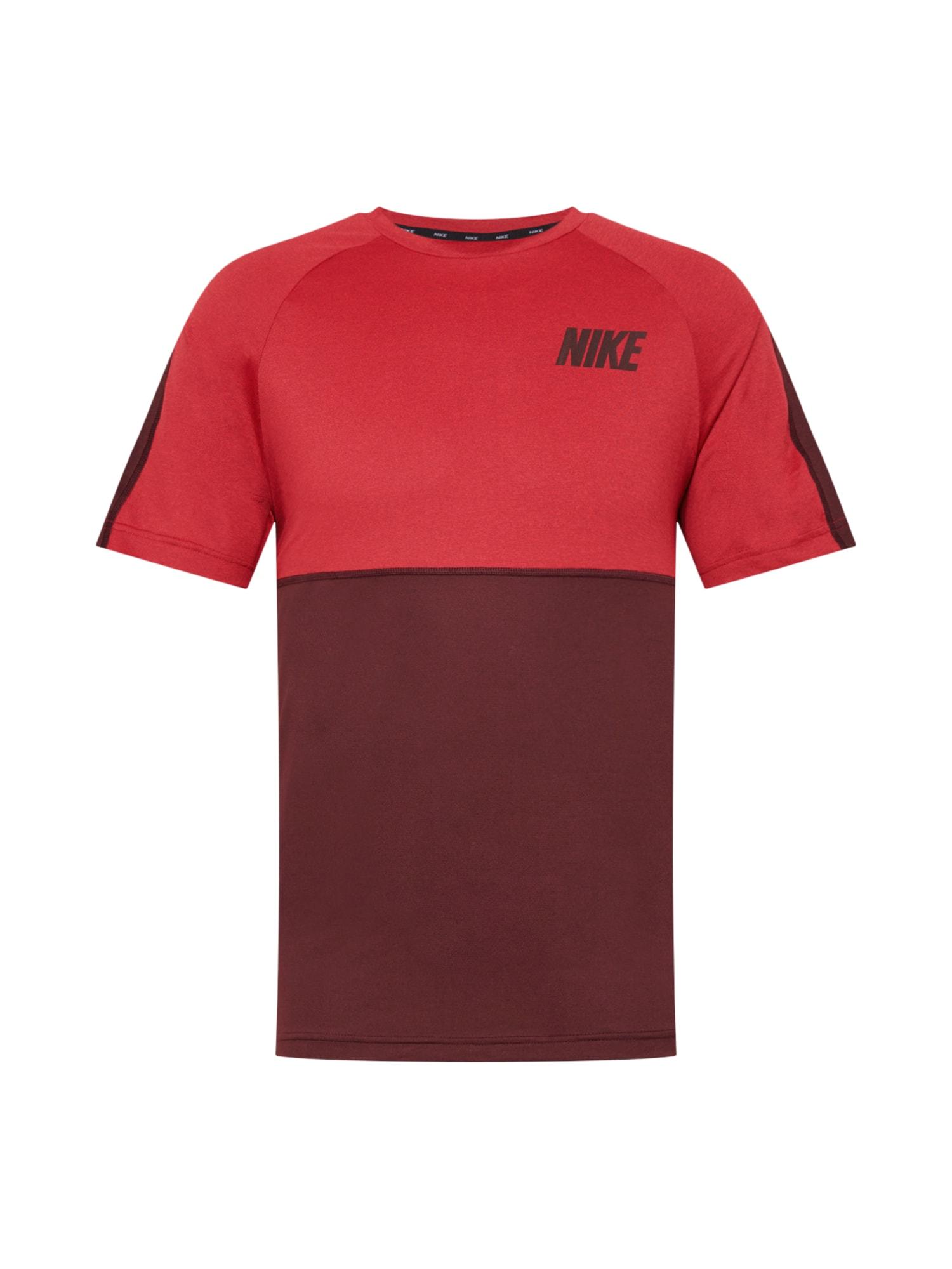 NIKE Funkční tričko  vínově červená / červená