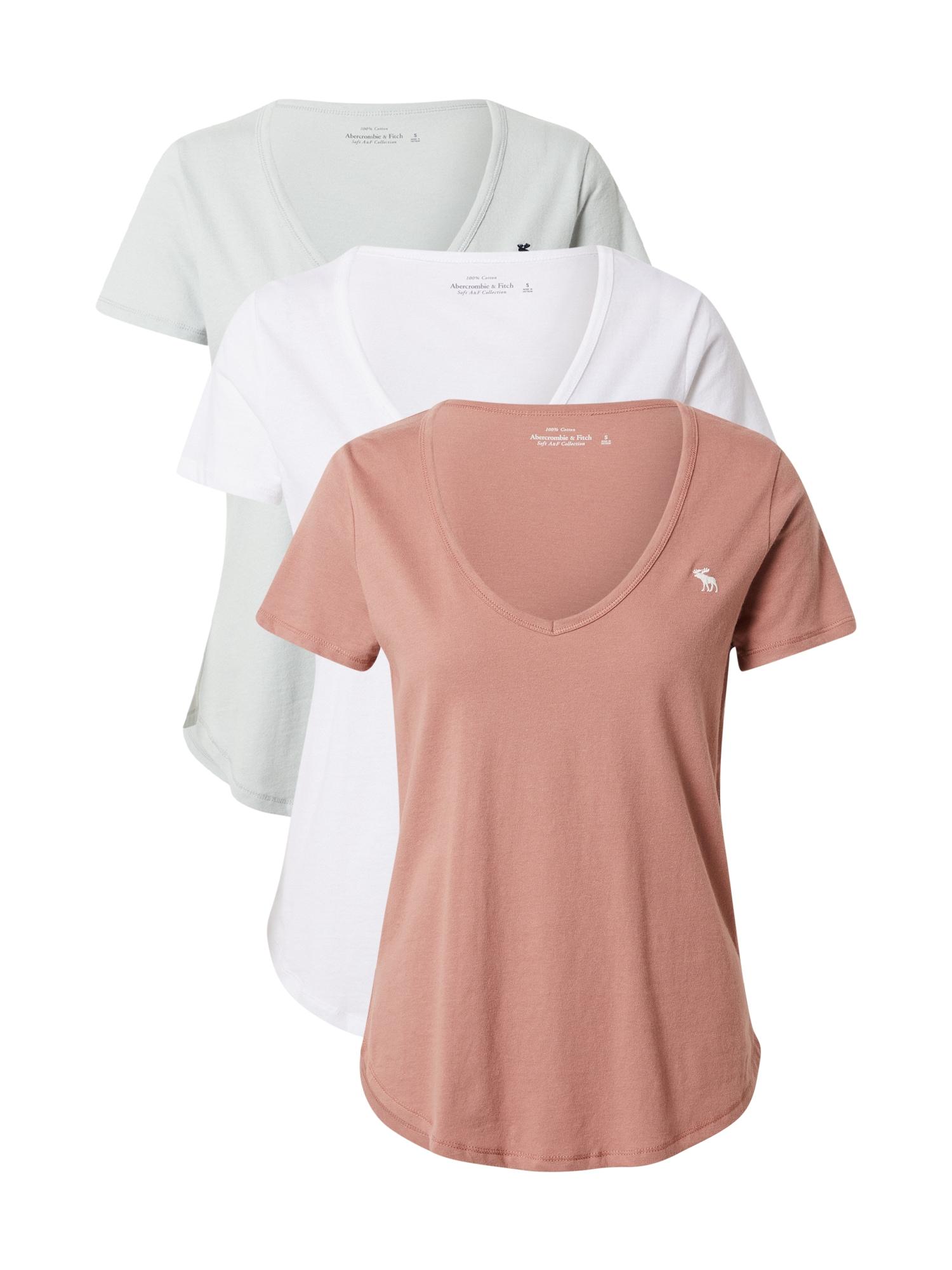 Abercrombie & Fitch Marškinėliai balta / ryškiai rožinė spalva / pastelinė žalia
