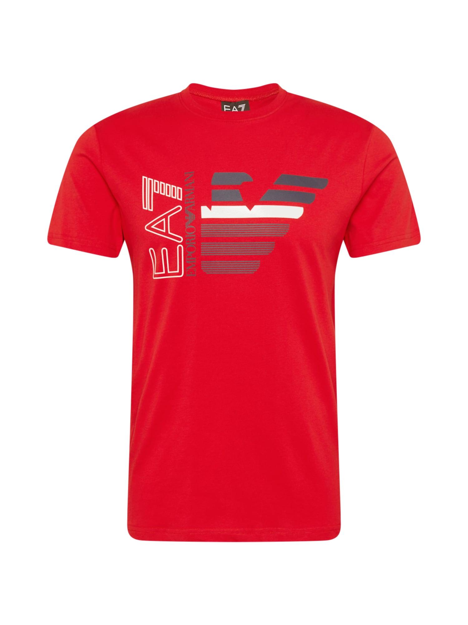 EA7 Emporio Armani Marškinėliai raudona / balta / tamsiai pilka