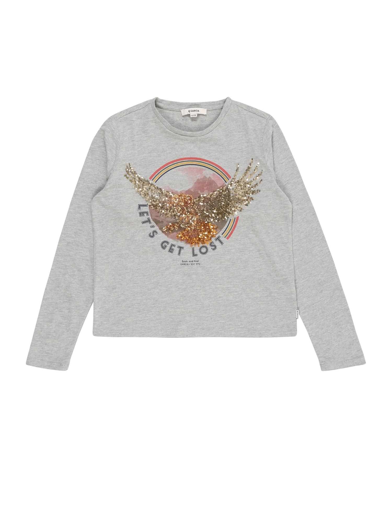 GARCIA Marškinėliai margai pilka / auksas / aukso geltonumo spalva / rožinė / tamsiai mėlyna jūros spalva
