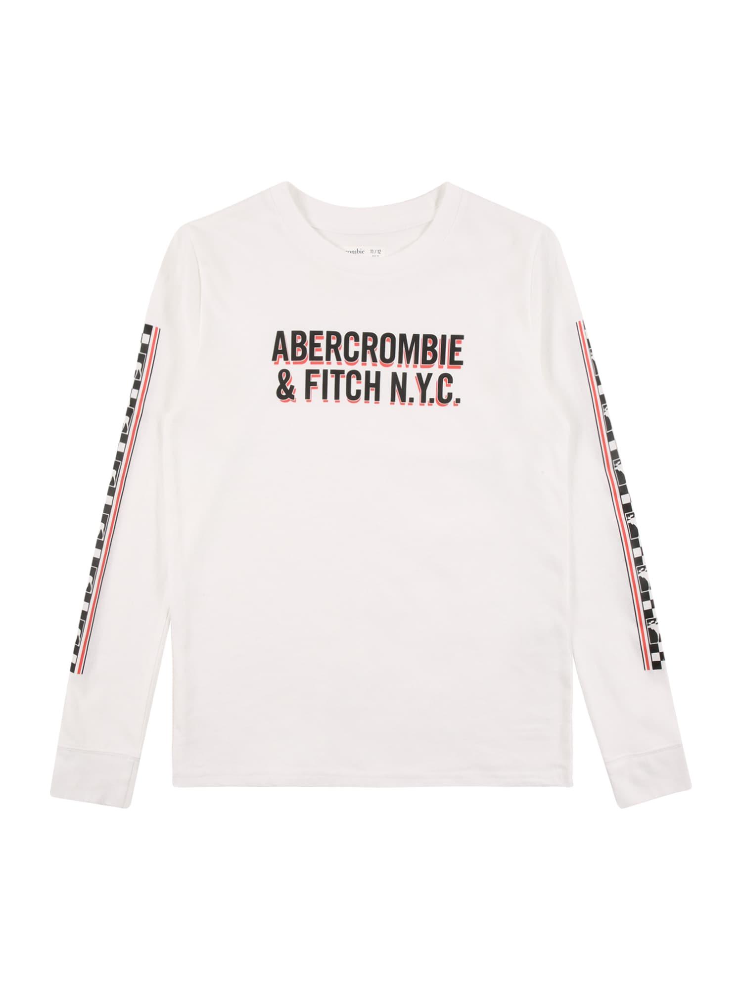 Abercrombie & Fitch Marškinėliai balta / juoda / raudona