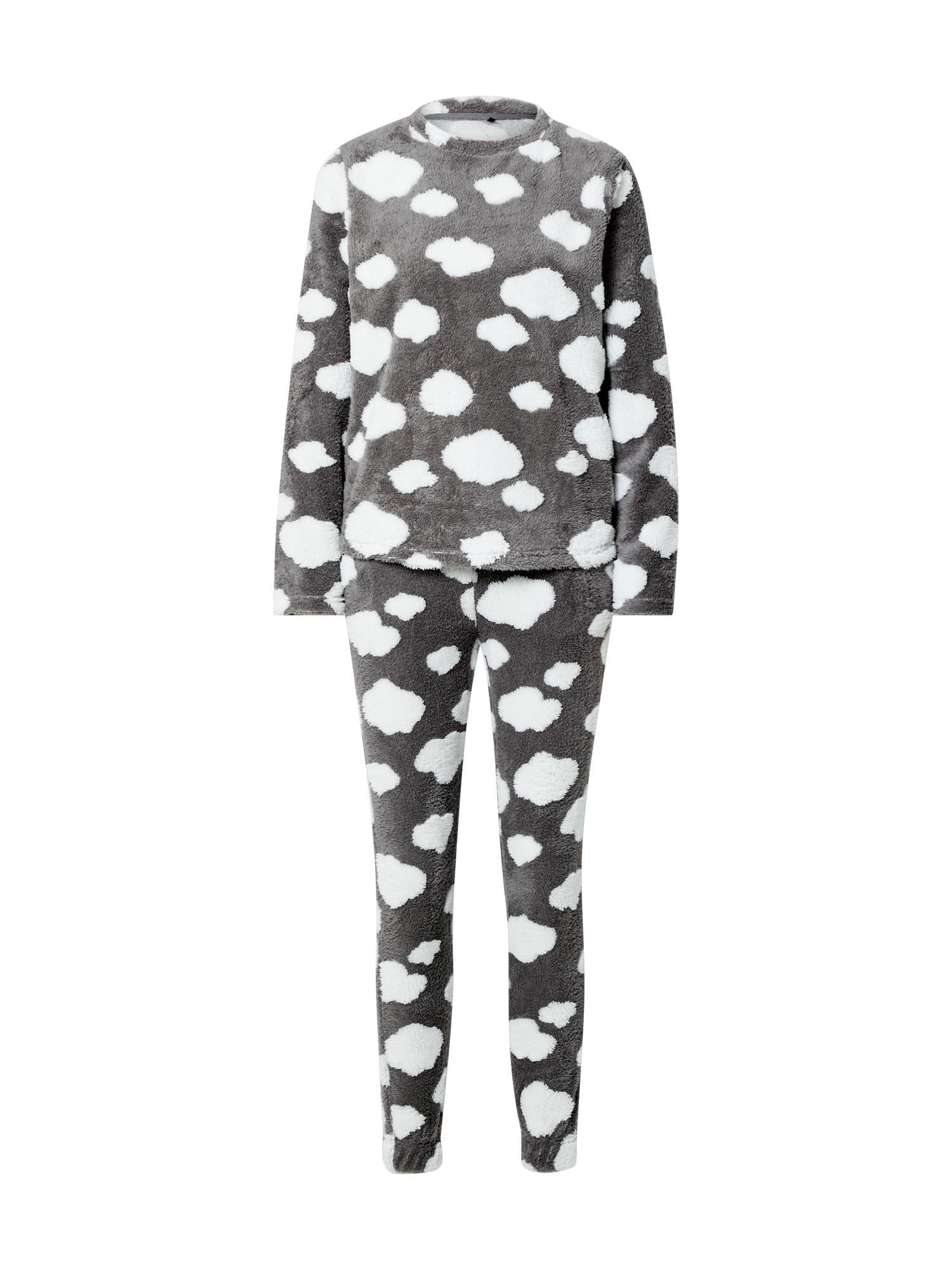 ONLY Pyžamo 'Caya'  tmavě šedá / bílá