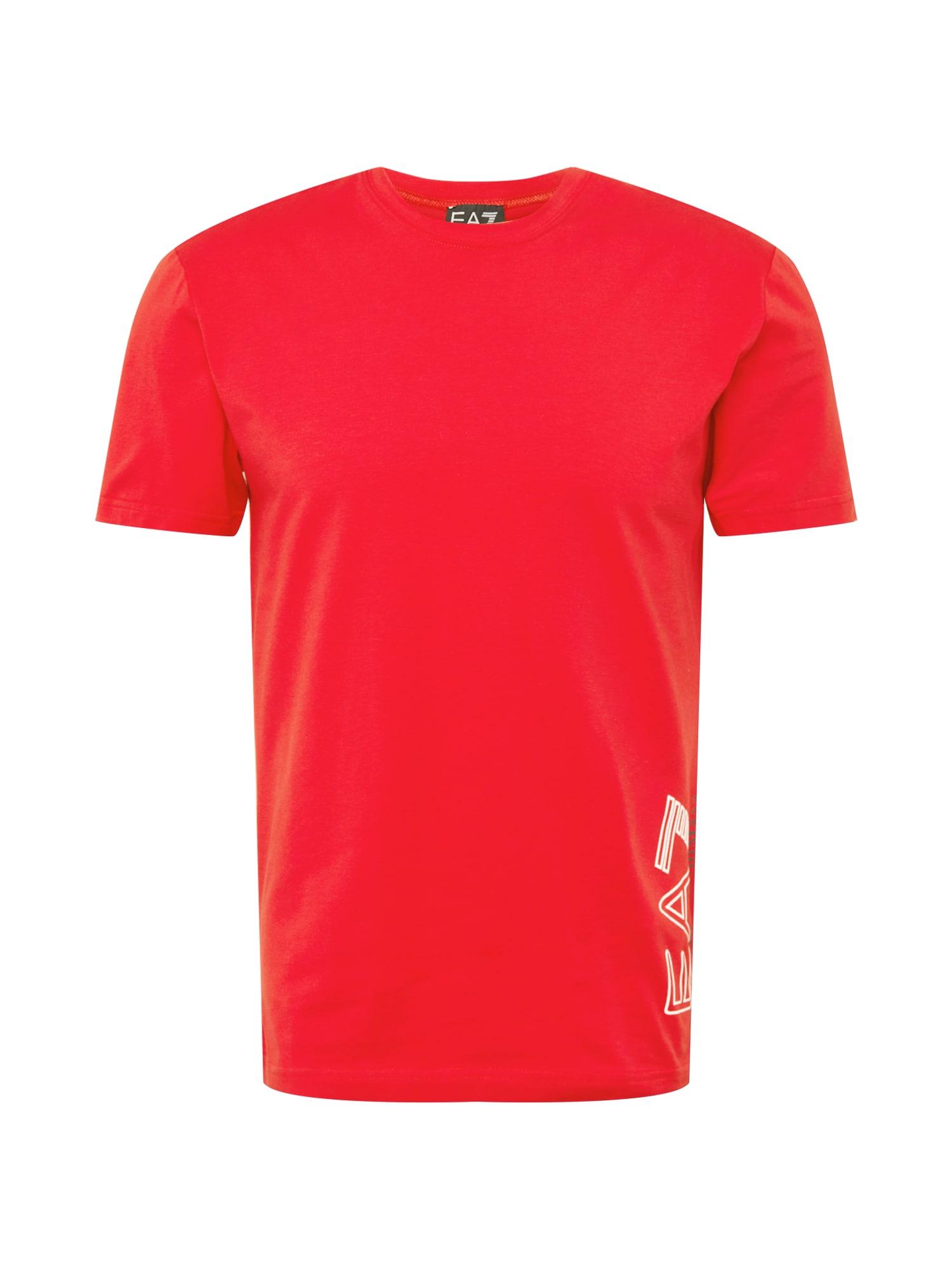 EA7 Emporio Armani Marškinėliai raudona / balta / mėlyna