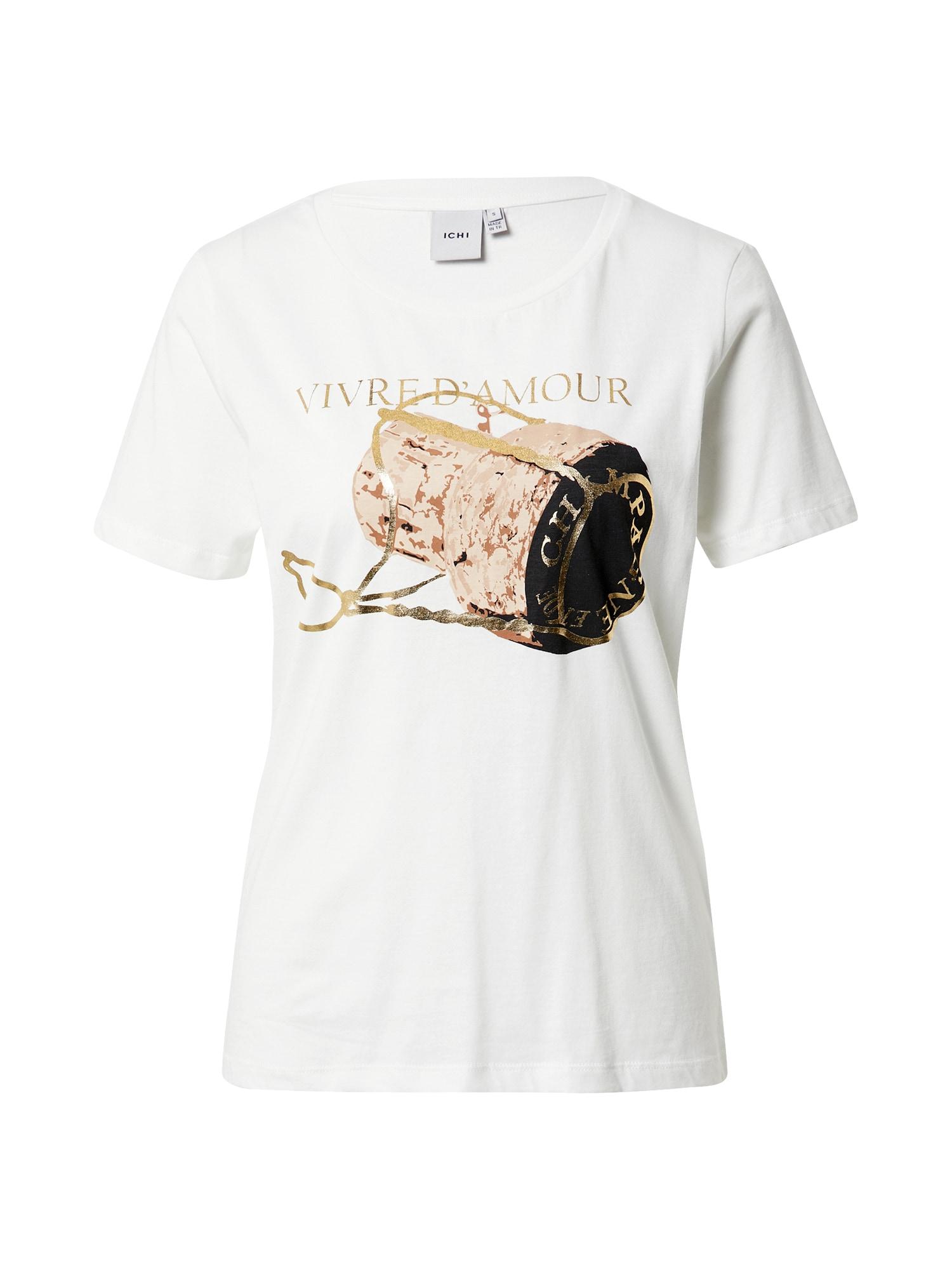 ICHI Marškinėliai balta / kremo / auksas / juoda