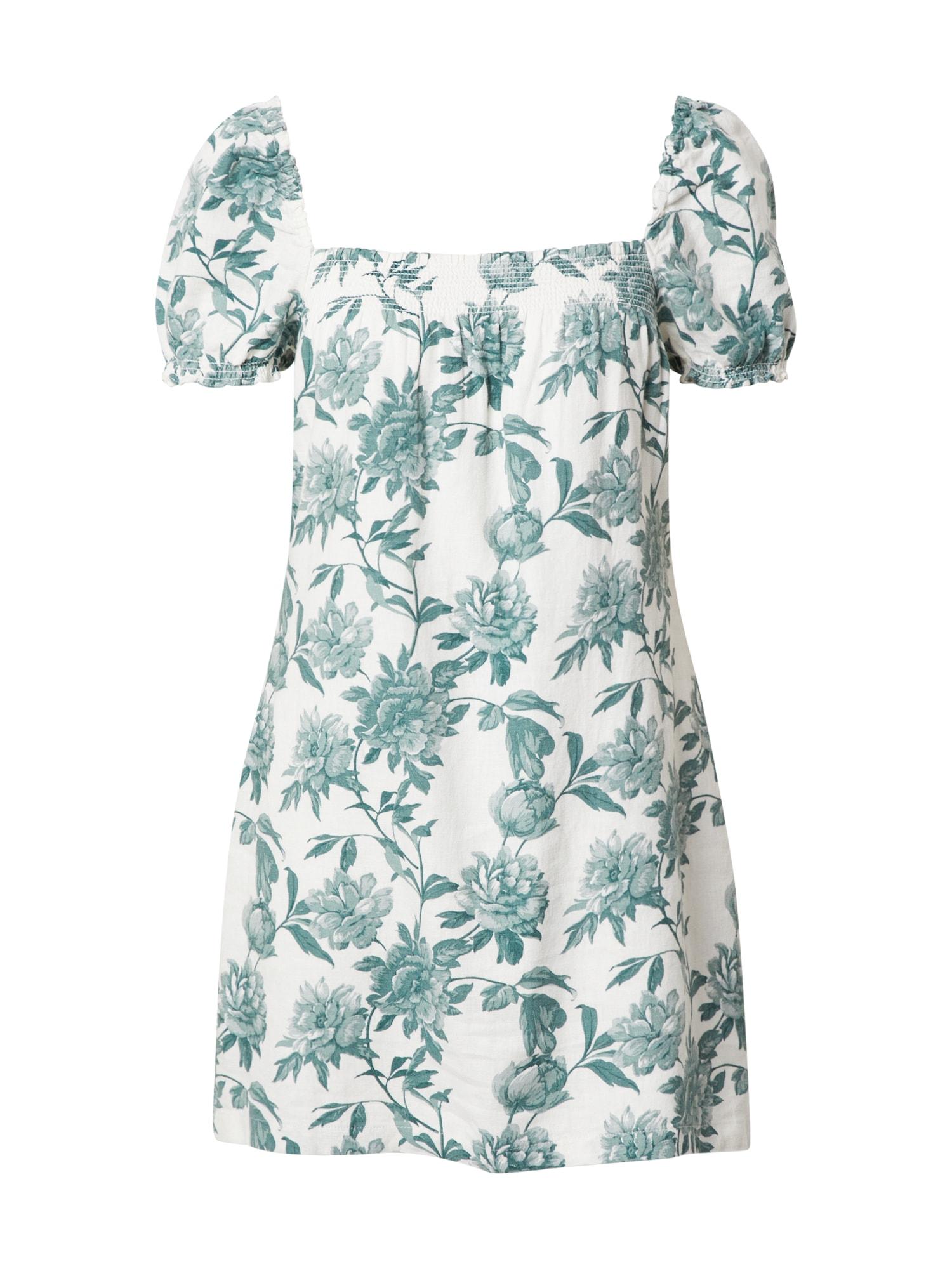 Abercrombie & Fitch Vasarinė suknelė balta / smaragdinė spalva