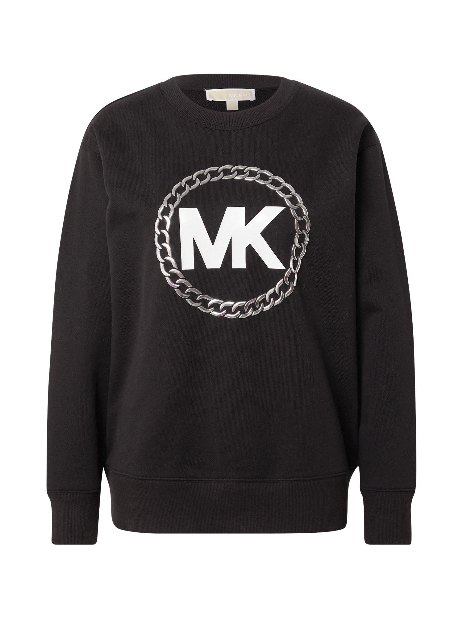 MICHAEL Michael Kors Megztinis be užsegimo juoda / pilka / balta