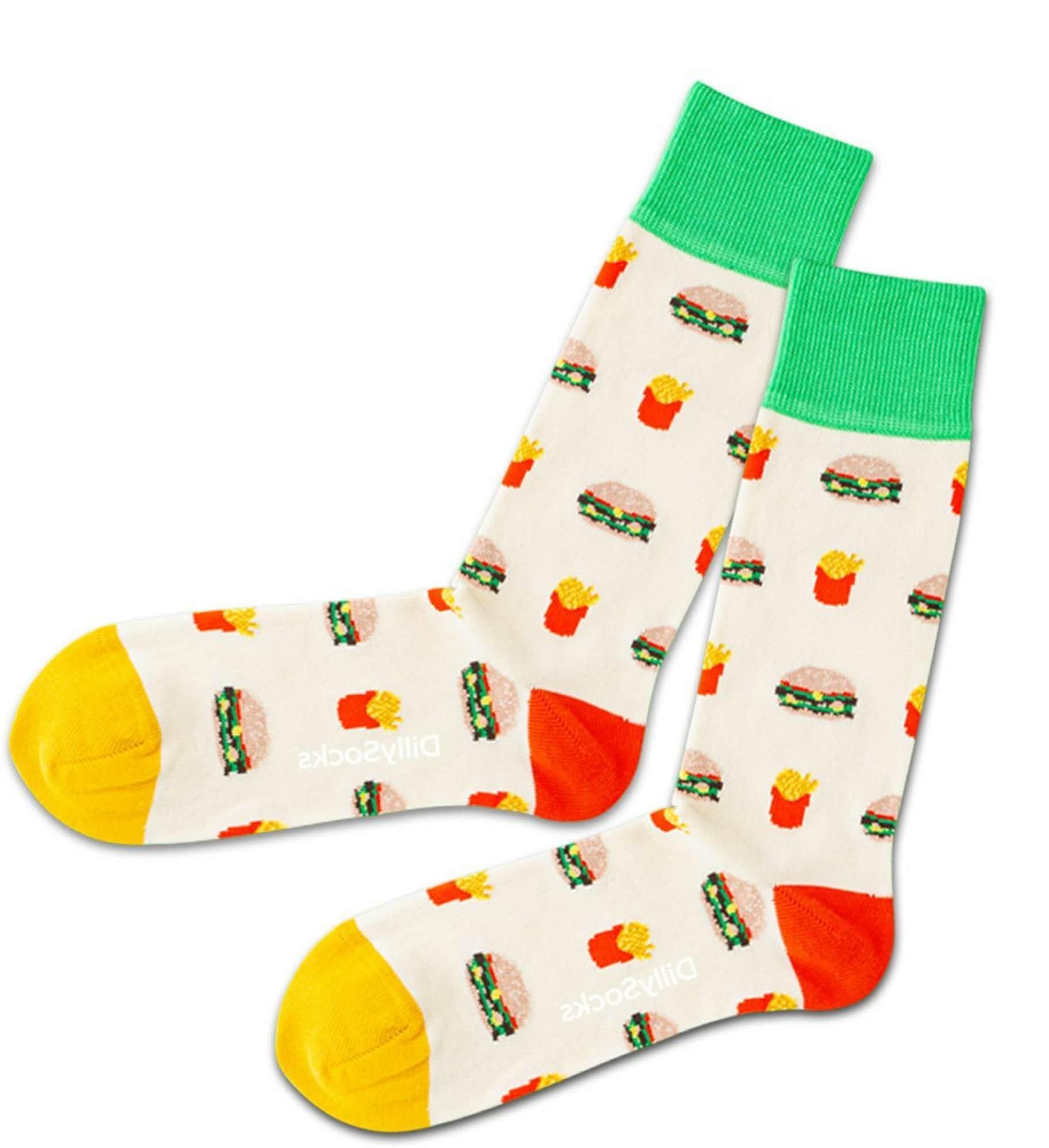 DillySocks Kojinės balta / geltona / žaliosios citrinos spalva / raudona / ryškiai rožinė spalva