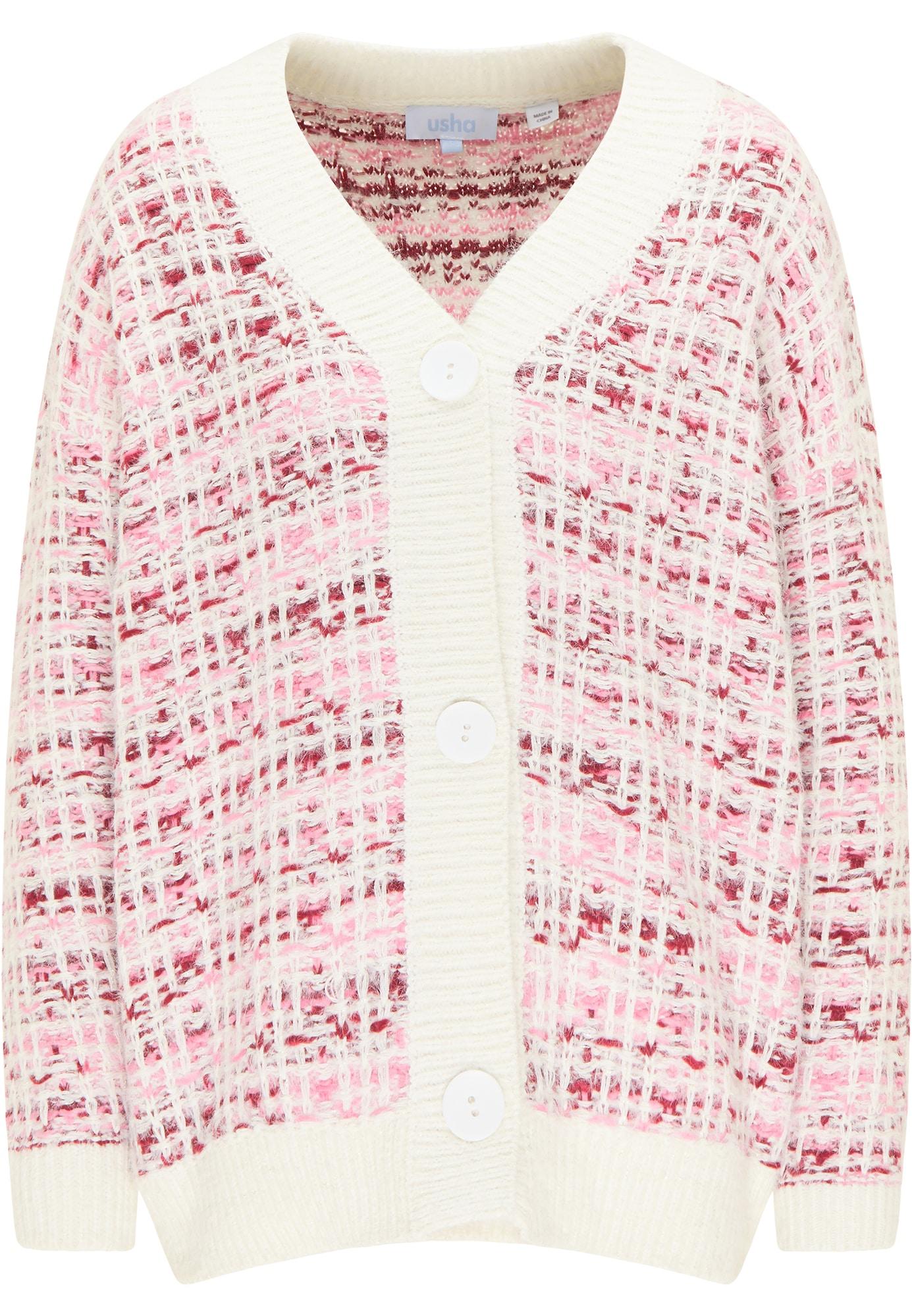usha BLUE LABEL Kardiganas balta / ryškiai rožinė spalva / pitajų spalva