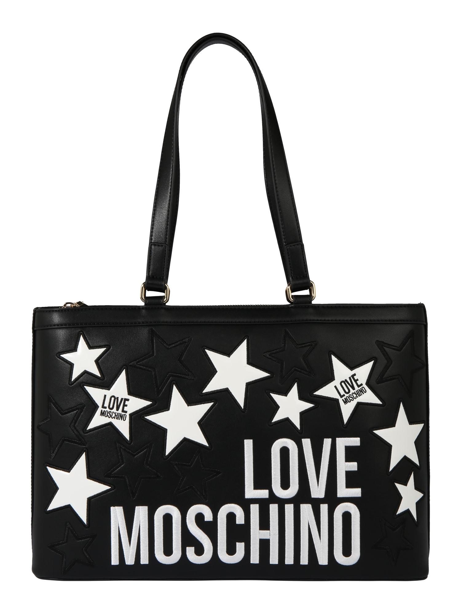 Love Moschino Pirkinių krepšys balta / juoda