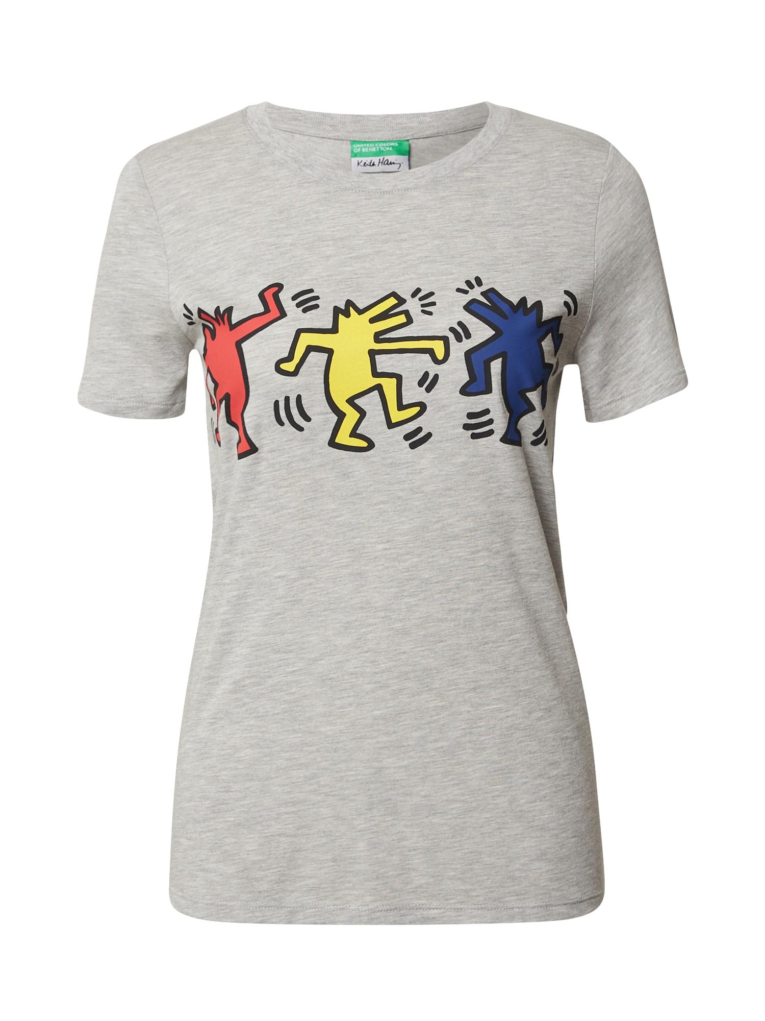 UNITED COLORS OF BENETTON Tričko  šedý melír / žlutá / červená / modrá