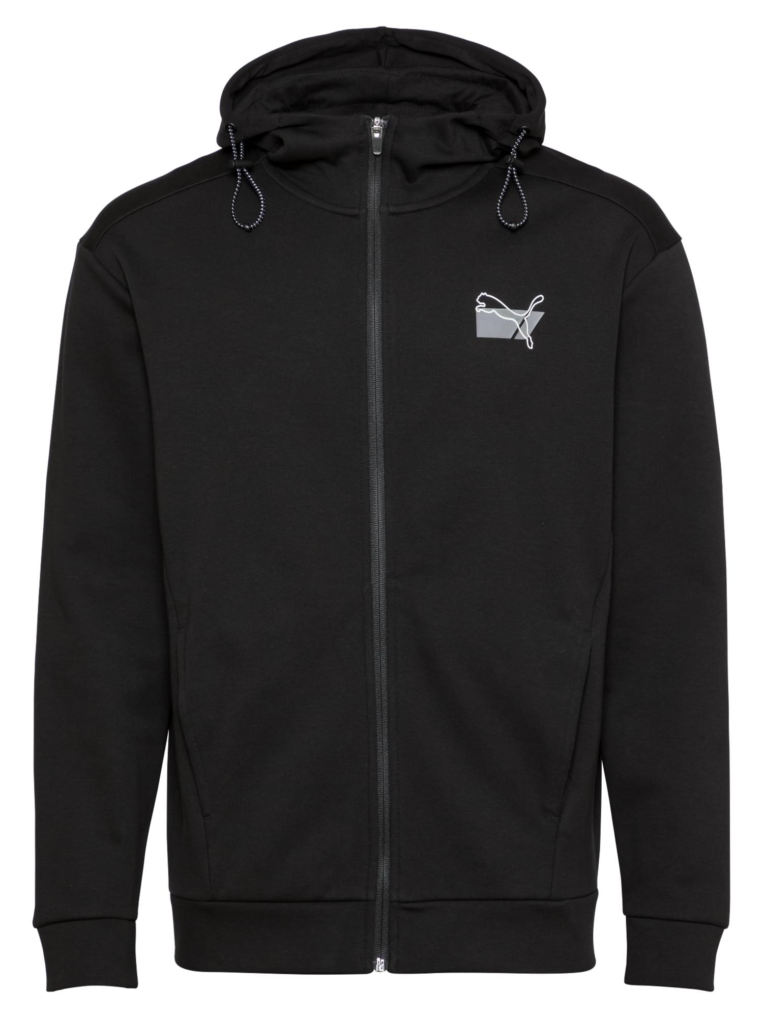 PUMA Sportinis džemperis juoda / balta / pilka
