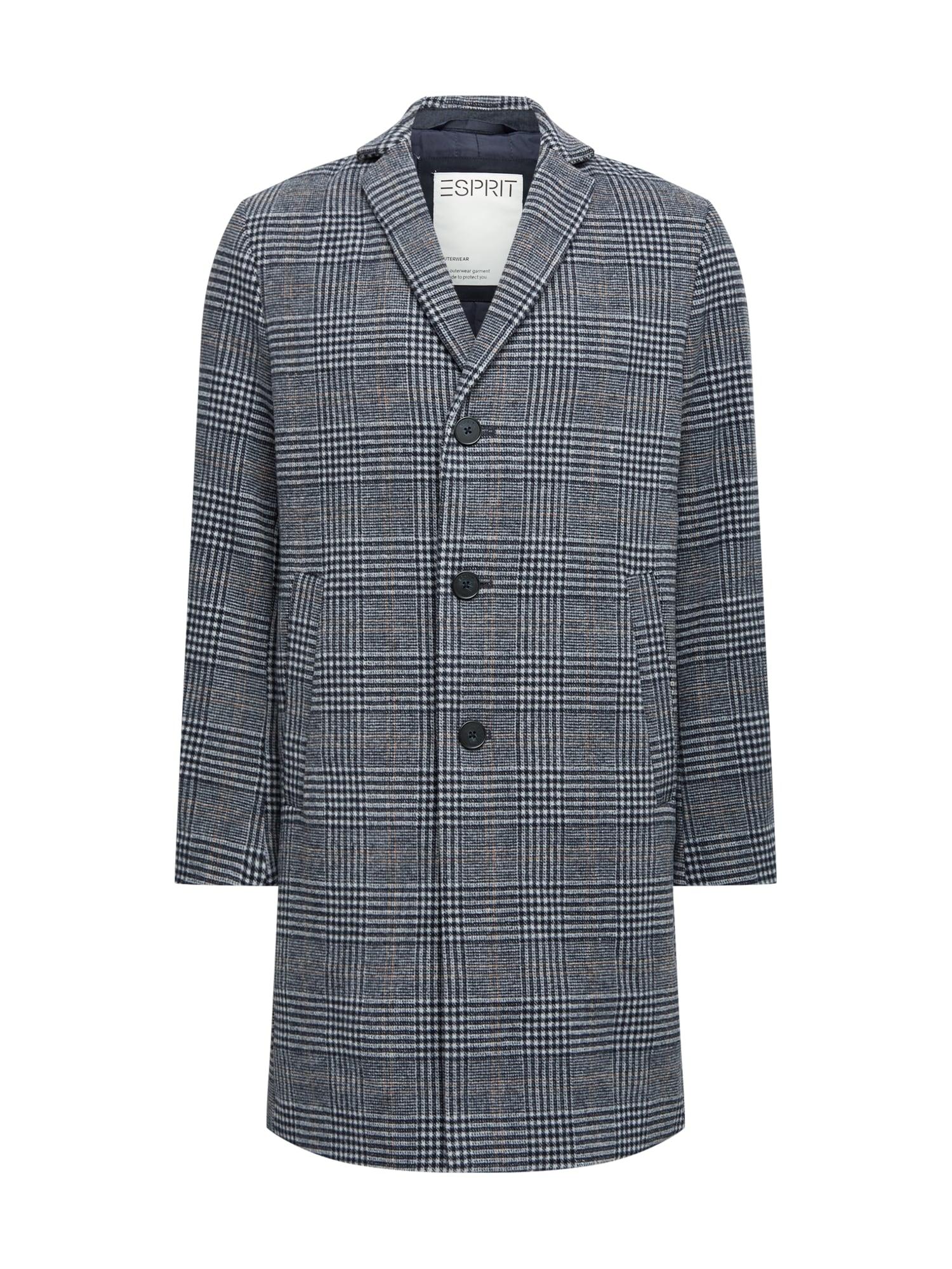 ESPRIT Demisezoninis paltas tamsiai mėlyna / pilka / juoda
