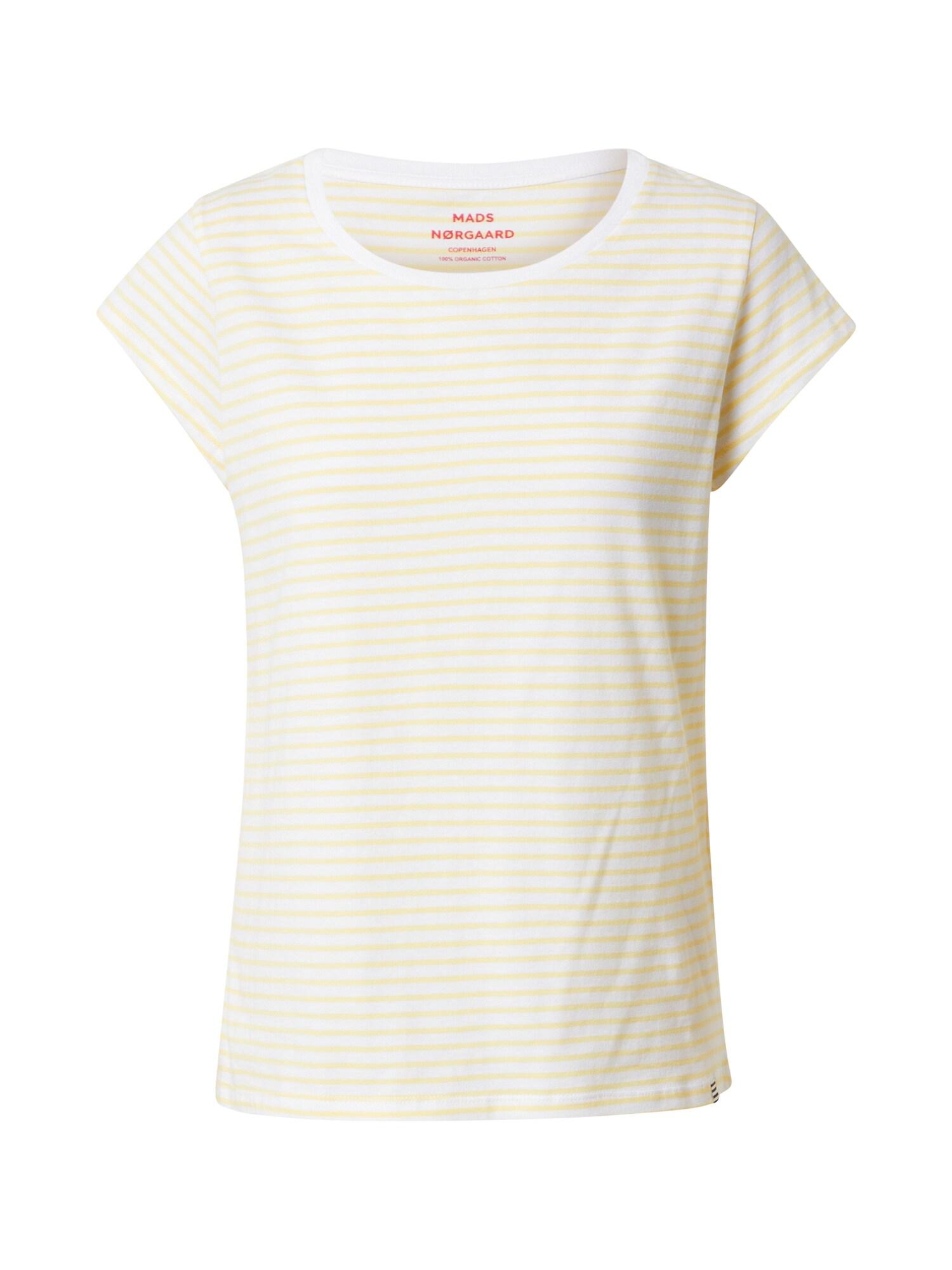MADS NORGAARD COPENHAGEN Marškinėliai balta / šviesiai geltona