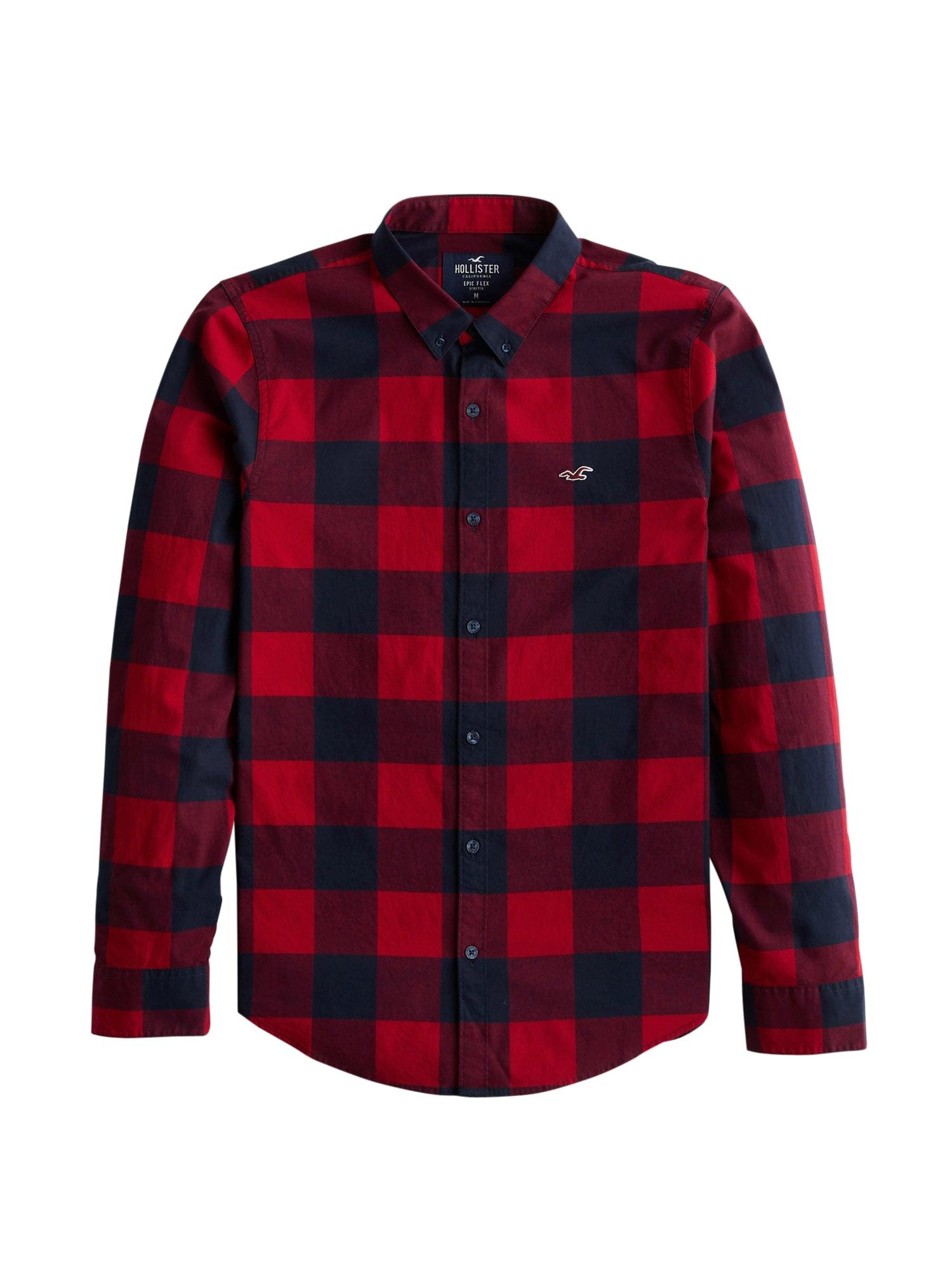 HOLLISTER Marškiniai raudona / tamsiai mėlyna