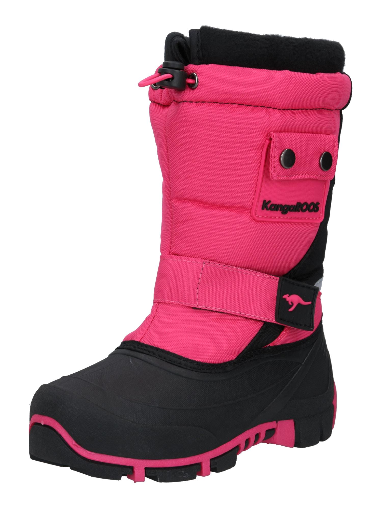 KangaROOS Sniego batai 'Kanga-Bean II' juoda / neoninė rožinė