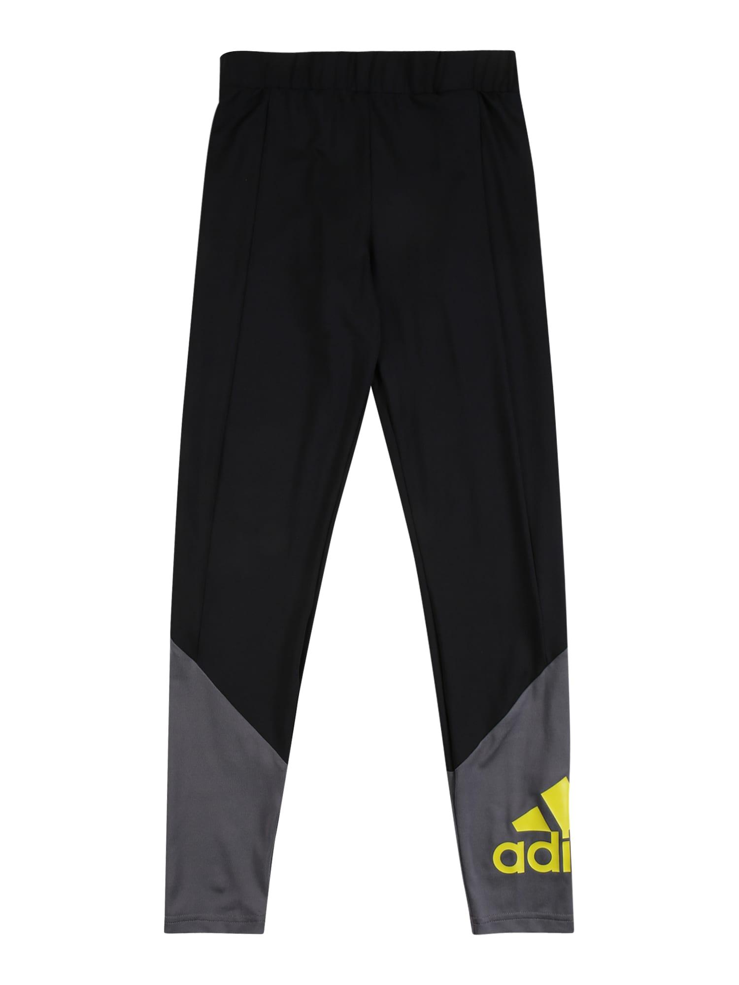 ADIDAS PERFORMANCE Sportinės kelnės juoda / pilka / geltona